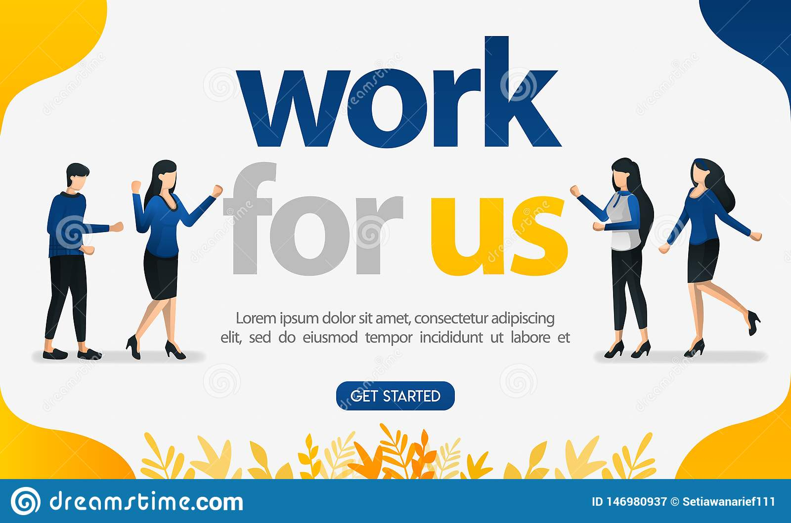 online advertising for job search websites with work for us words  concept vector ilustration