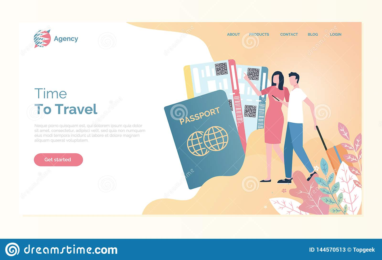 Online Agency, Time to Travel, Passport Vector