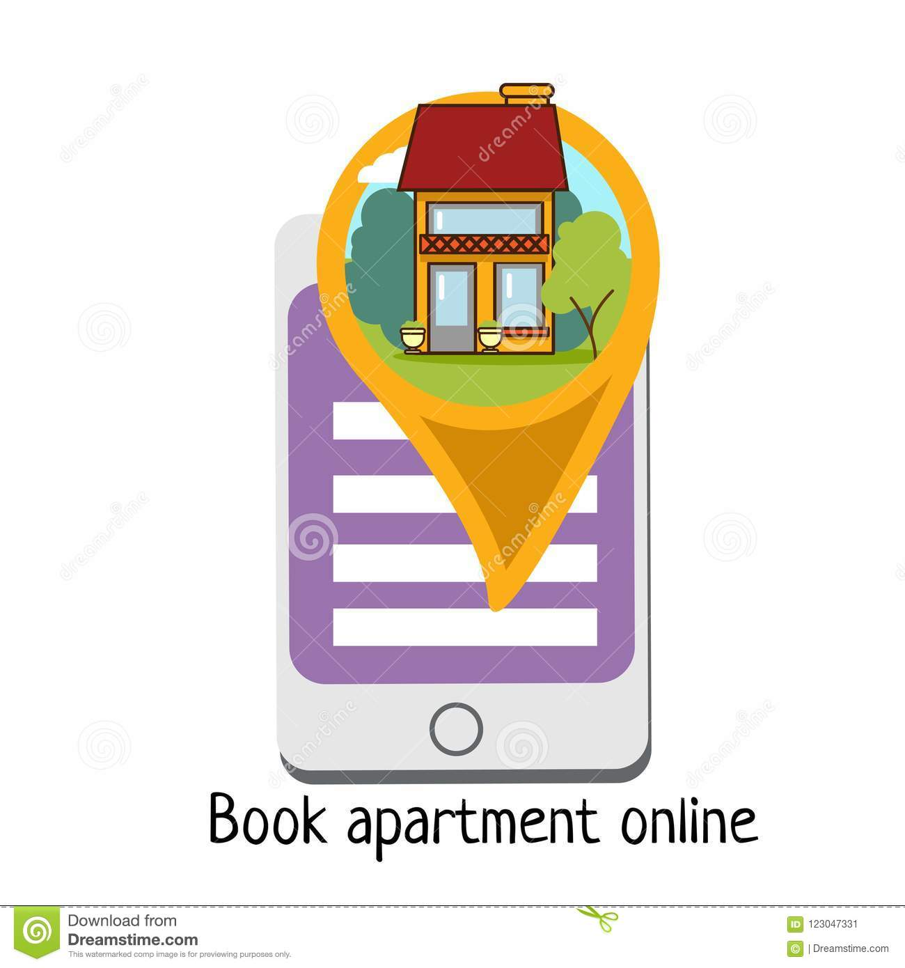 Online Apartment, House Or Flat Booking Service Icon, Flat ...