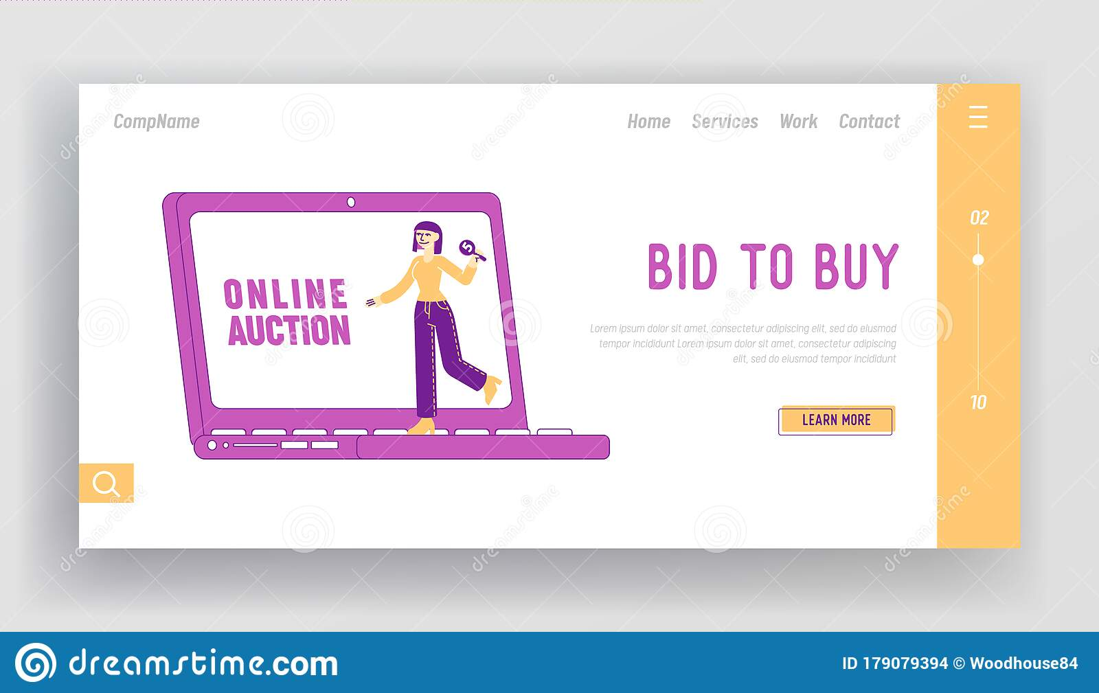 Online Auction Business Or Charity Landing Page Template Female Character Holding Bid Plate In Hand Stand At Laptop Stock Vector Illustration Of Activity Enforcement 179079394