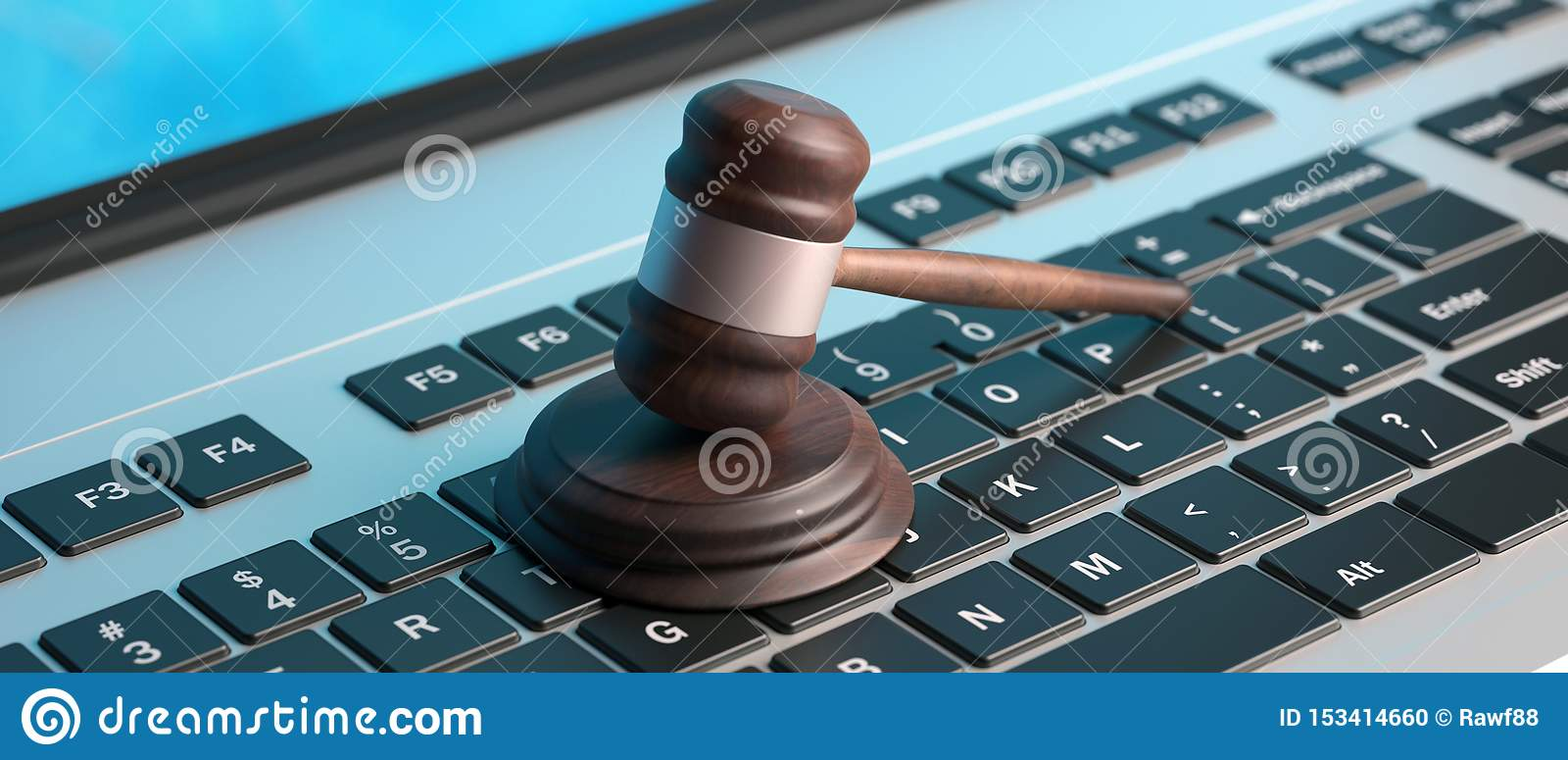 Online Auction Law Gavel On Computer Keyboard Banner 3d Illustration Stock Illustration Illustration Of Data Background 153414660