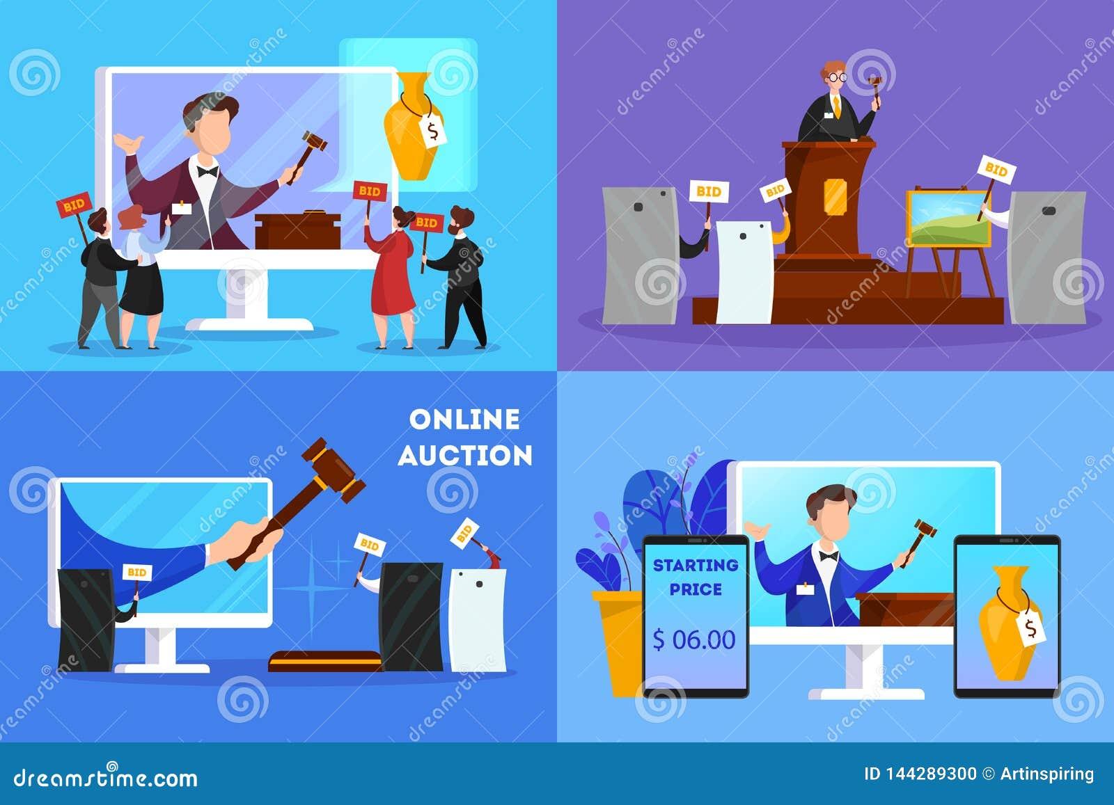 Online-auktionbegrepp Ta handling i auktion till och med apparaten