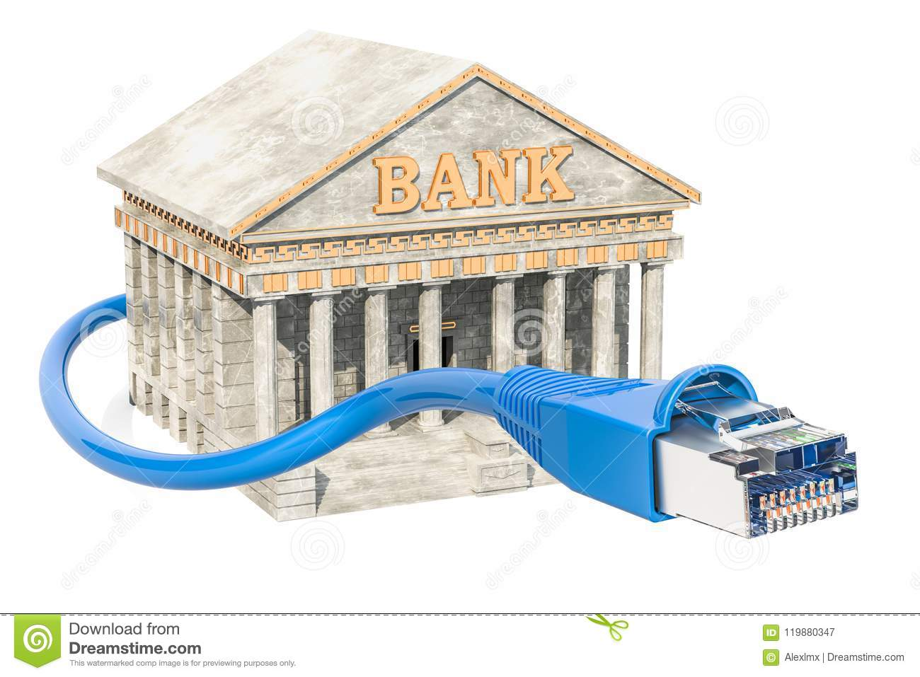 Online Banking Concept, Bank Building With Land Cable. 3D Render ...