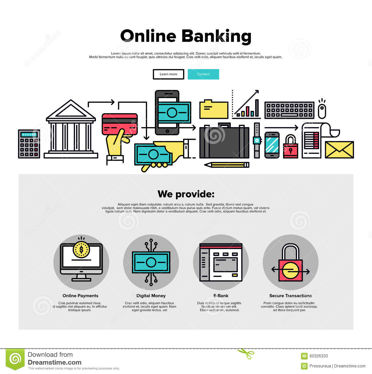 Online Banking Flat Line Web Graphics Stock Vector Image