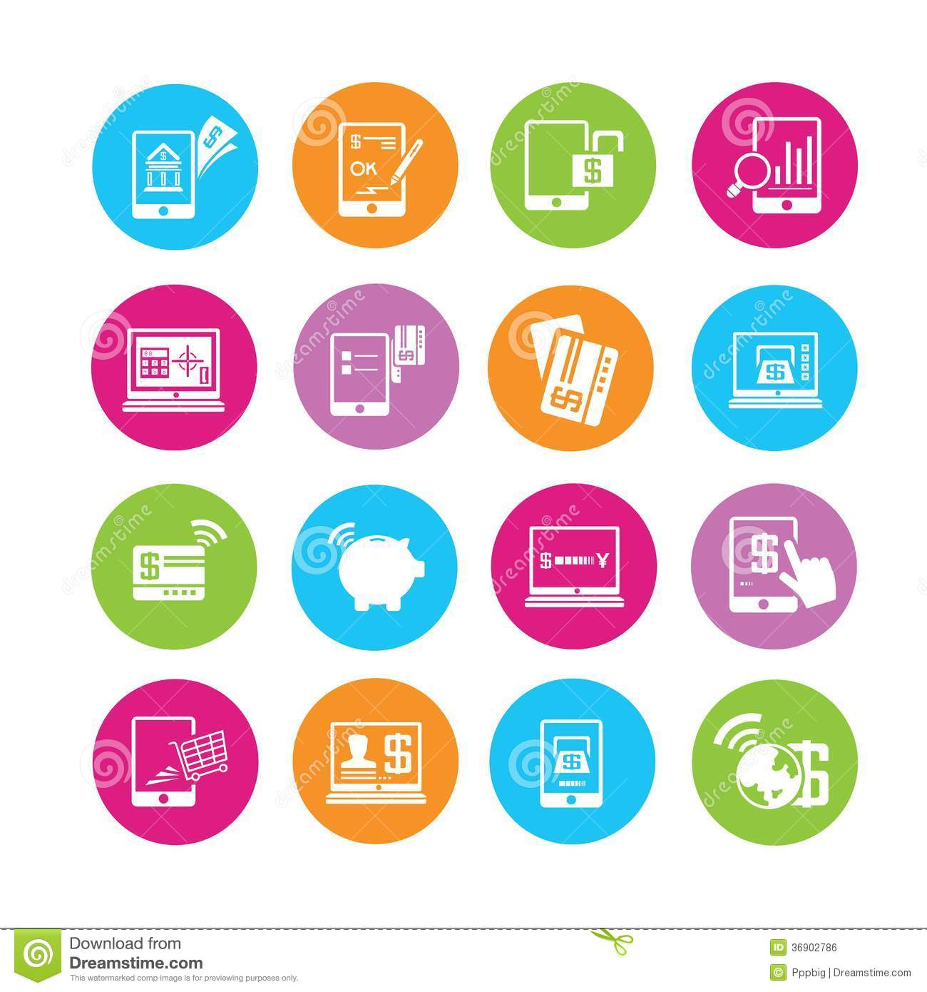 Online banking icons stock illustration. Illustration of ...