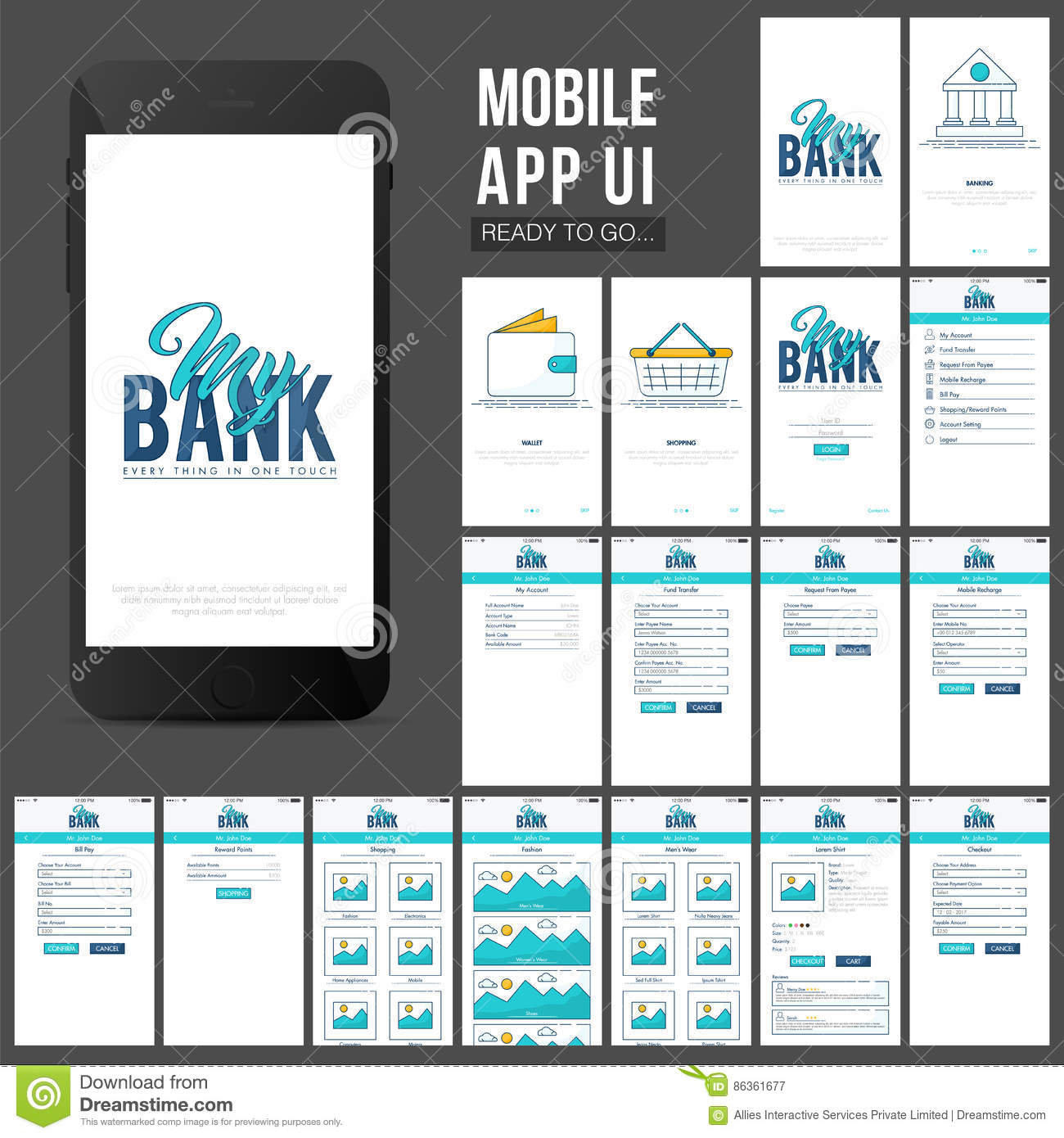 Online Banking Mobile Apps UI Design. Stock Photo - Image: 86361677