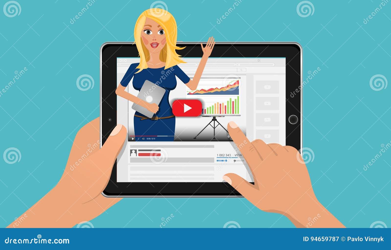 Online bedrijfsonderwijs met invloedsvideo blogger Financiën webinar en het trainen opleiding in uw tabletpc vlak