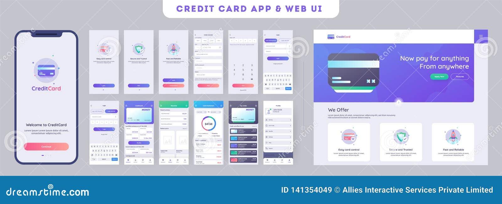 Online Betaling of creditcardsapp ui uitrusting voor ontvankelijke mobiele toepassing met websitemenu