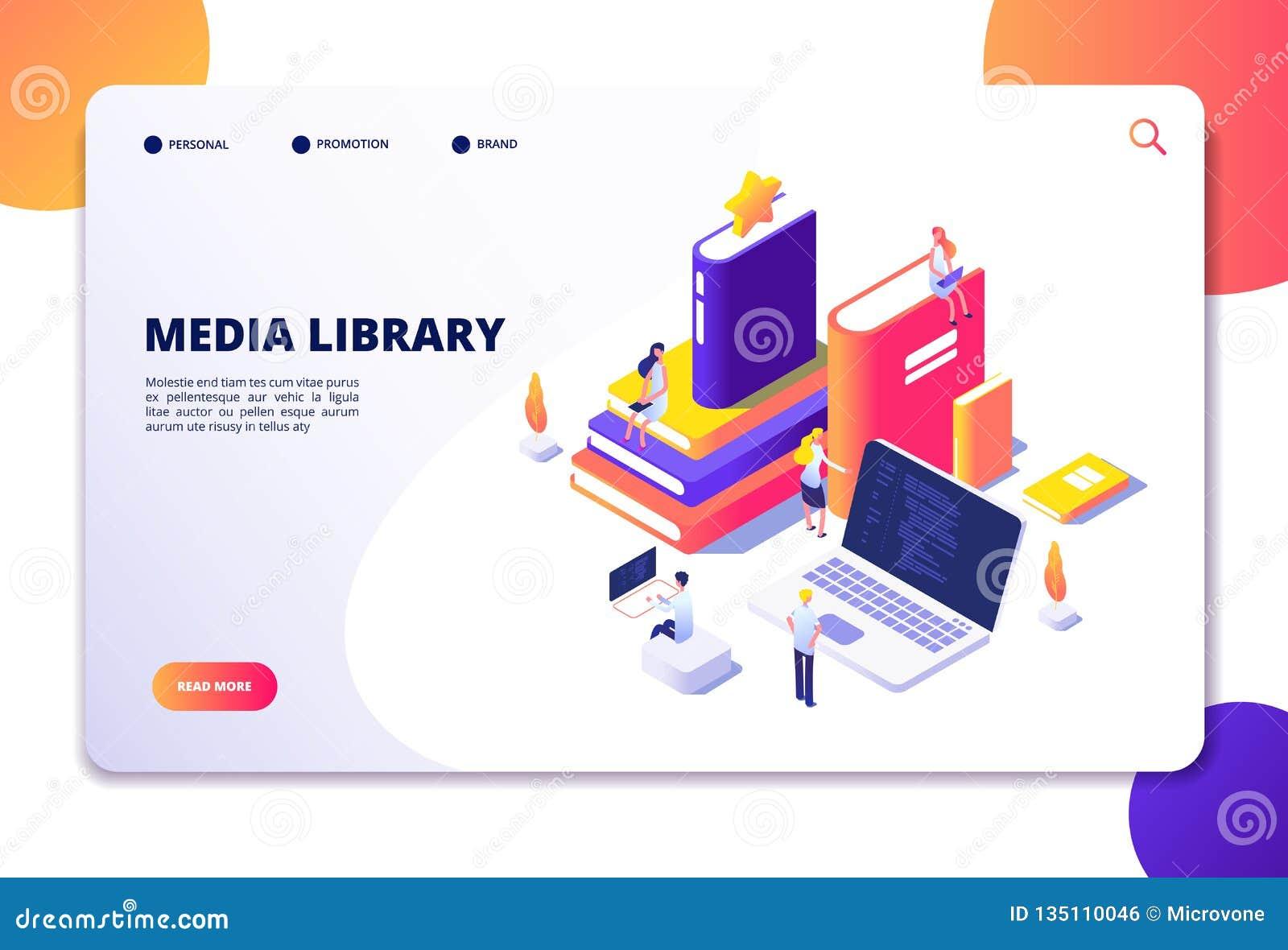 Online bibliotheek isometrisch concept Mensen in bibliotheque, boekenlaptops Elektronische de bibliotheekvector van de lezingstec