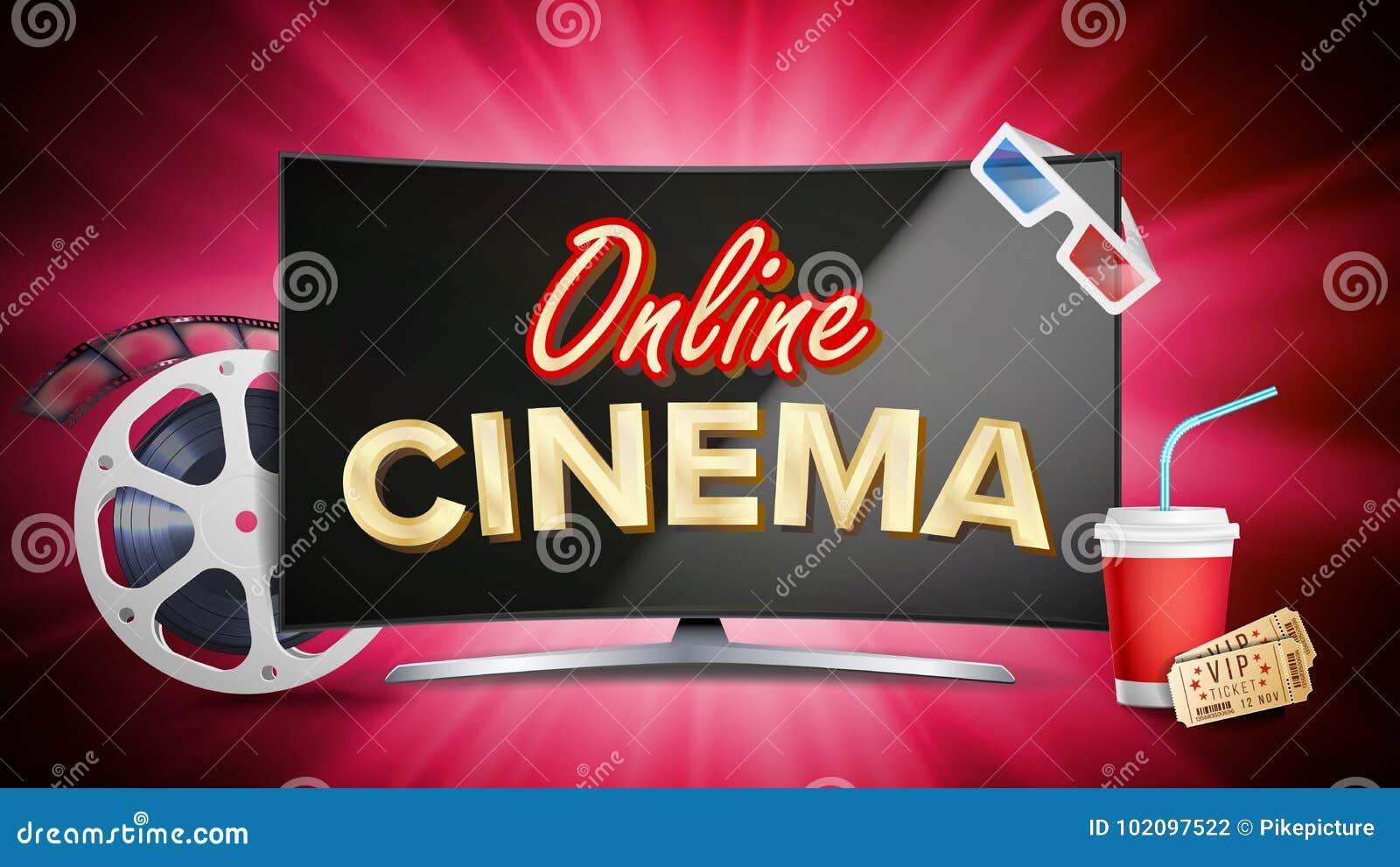 Online-bioaffischvektor Modernt datorbildskärmbegrepp Bildband rulle, filmClapper, tappningbiljett, popcorn
