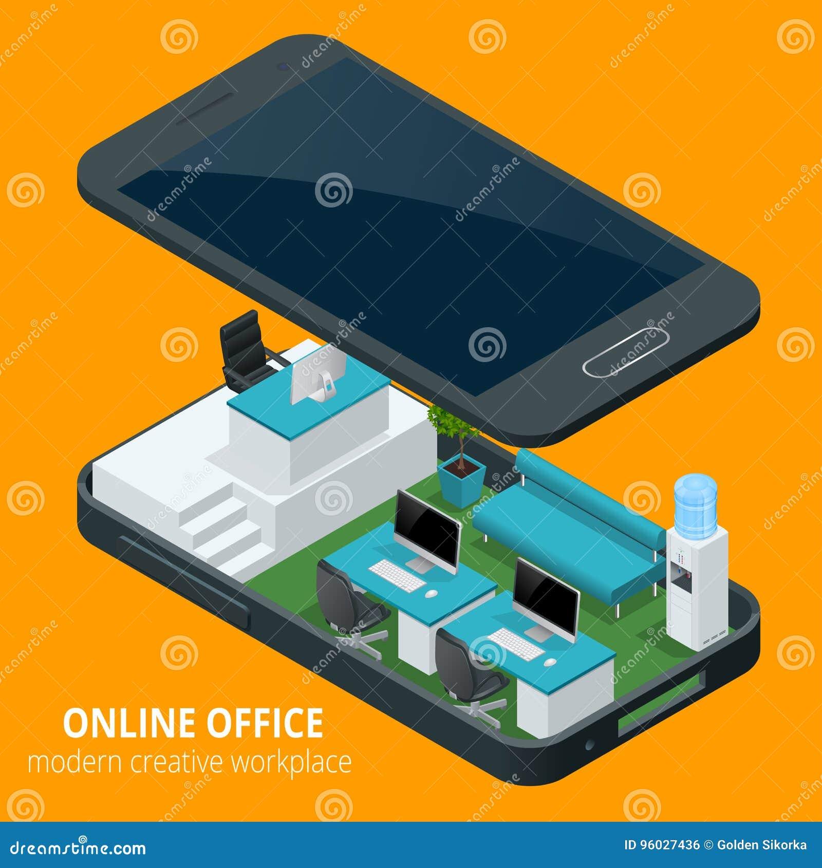 Online biurowy pojęcie Isometric wektorowa ilustracyjna biurowa praca, biznesowy pojęcie, biurowy meble, obieg jest