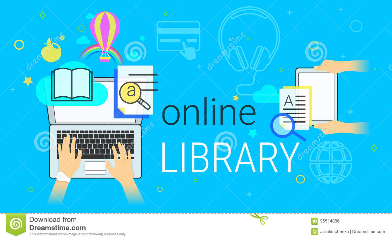 Online Book And Electronic Library App On Laptop Creative
