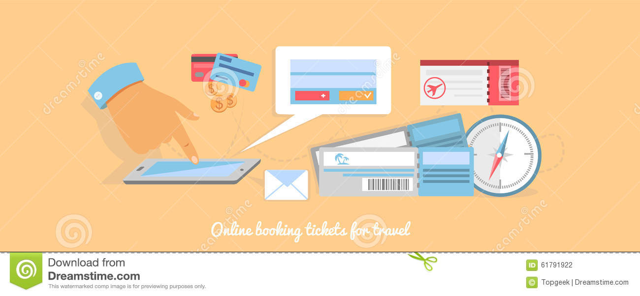 Online Booking A Ticket On Trip Stock Vector Image 61791922