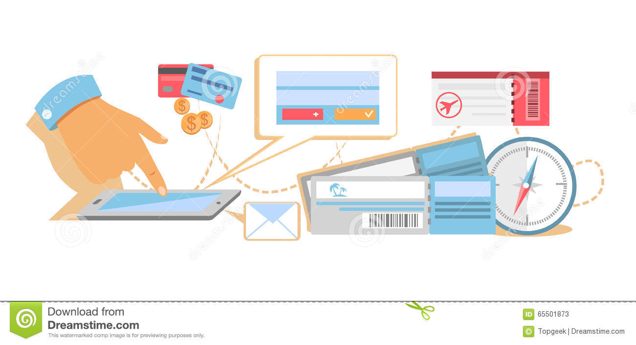Online booking a ticket on trip stock vector for Design a plane online