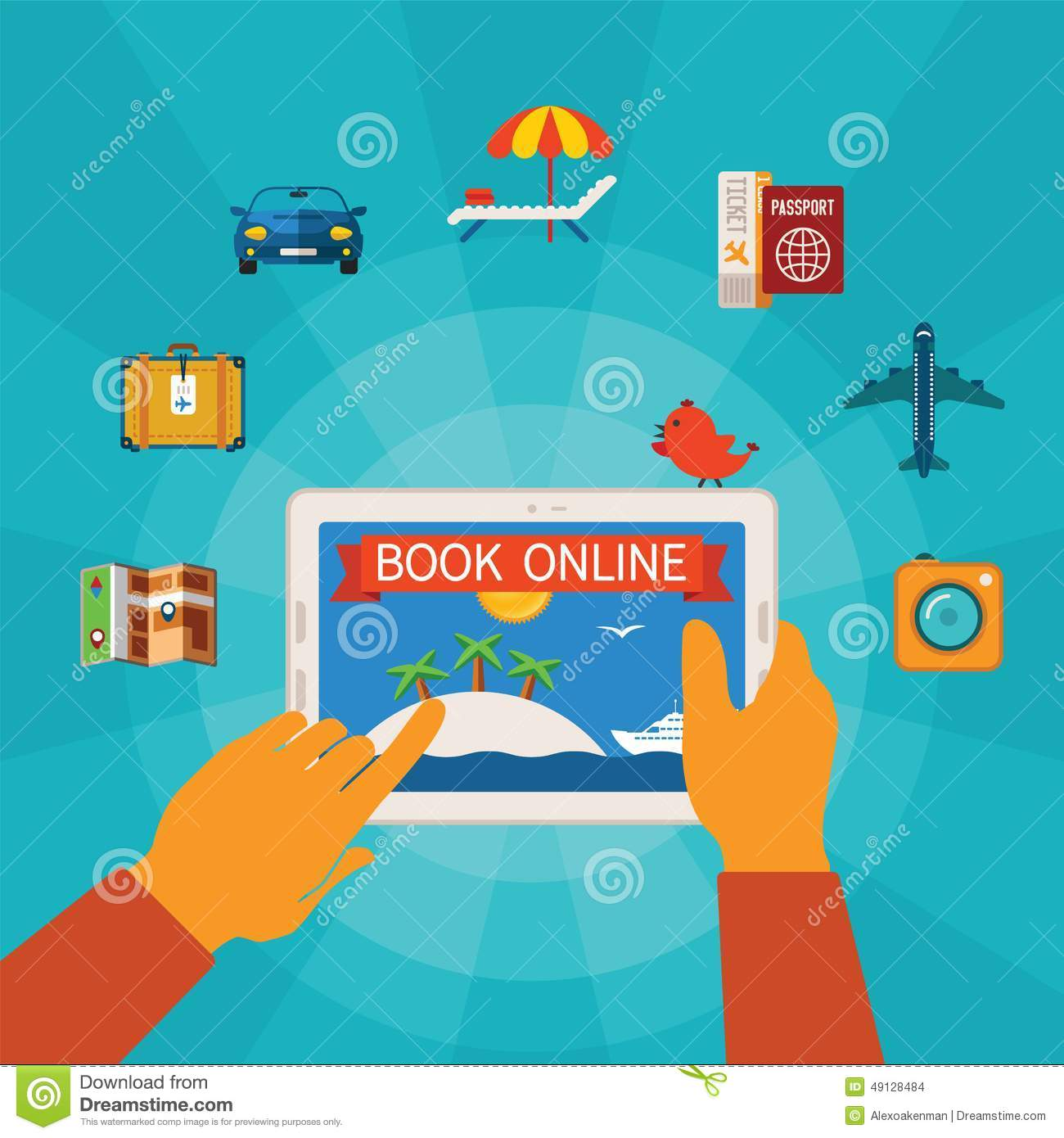 Online booking vector concept stock vector image 49128484 for Tablet hotel booking