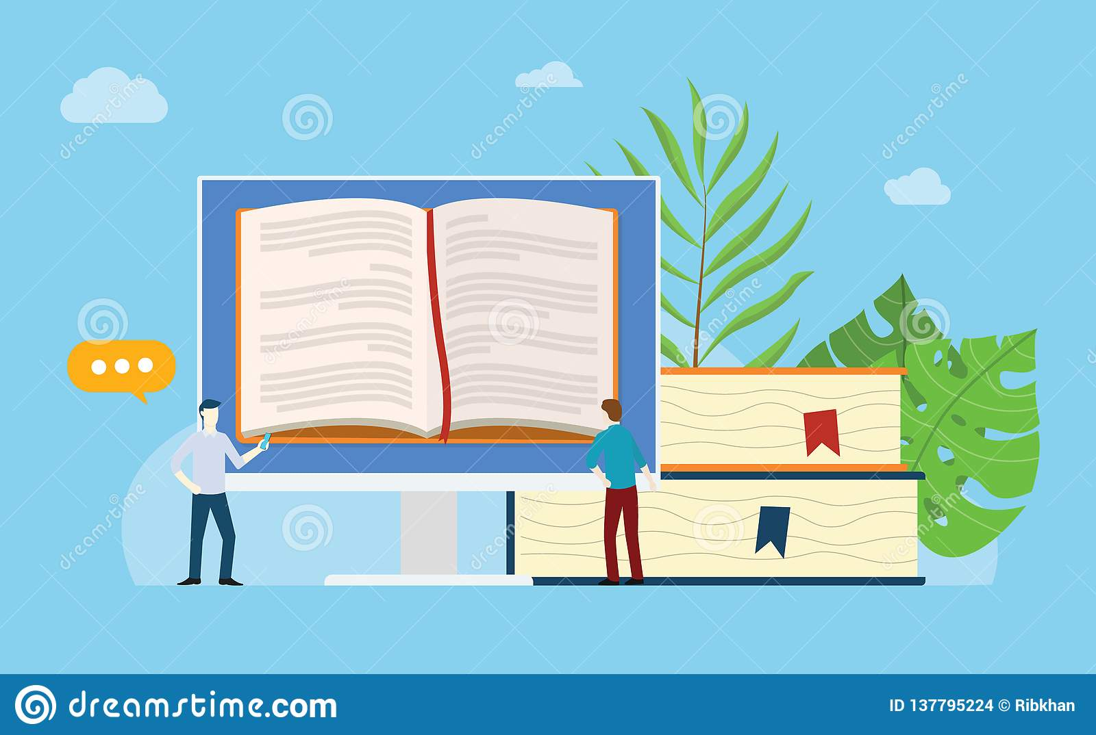 Online Books Reading with Open Book on the Monitor Screen with ...