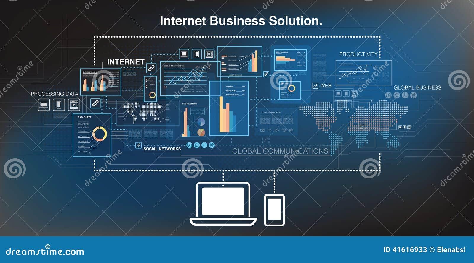 Technology Background Laptop: Online Business Background Stock Vector. Illustration Of