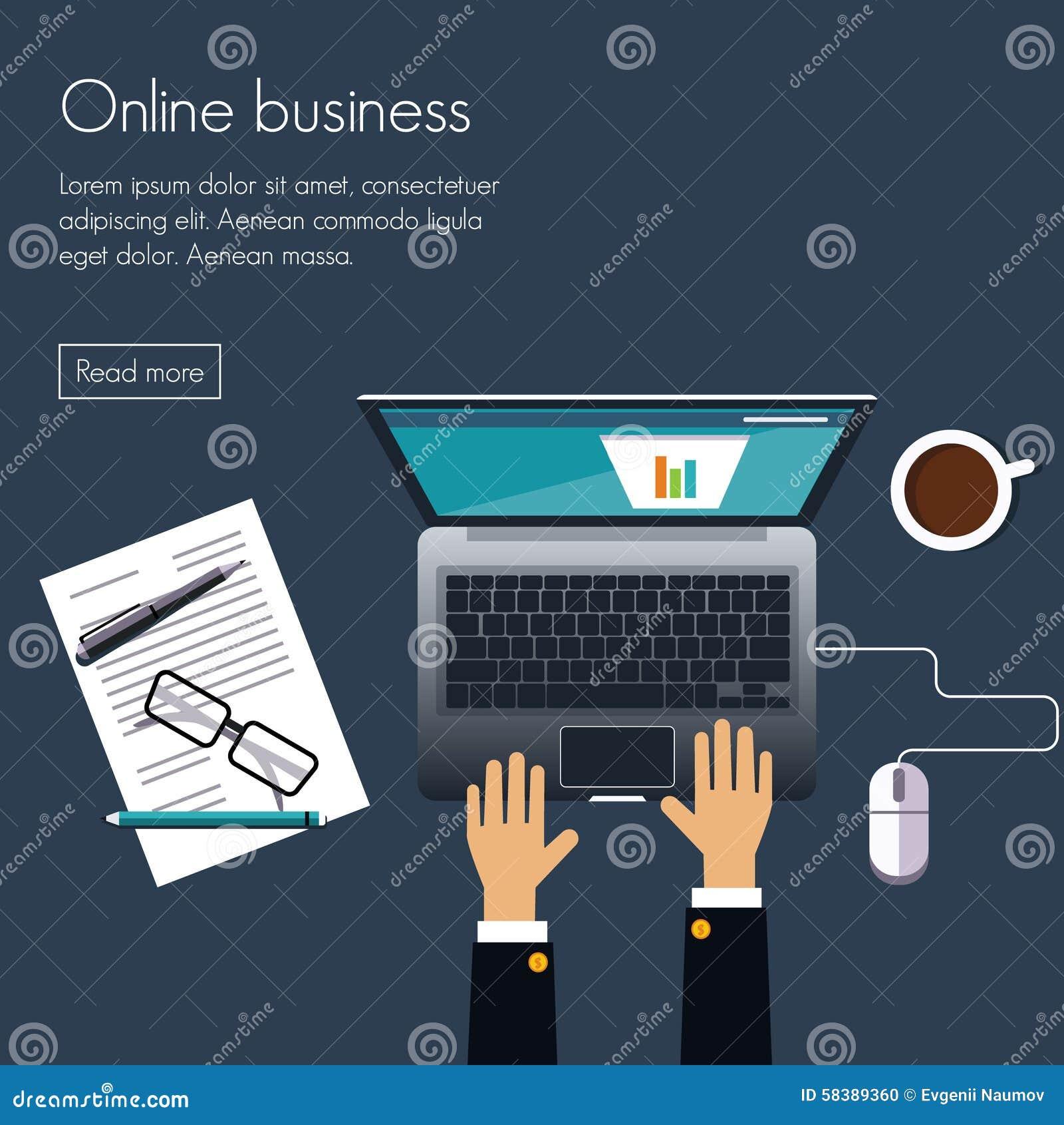 Online Business Stock Vector - Image: 58389360