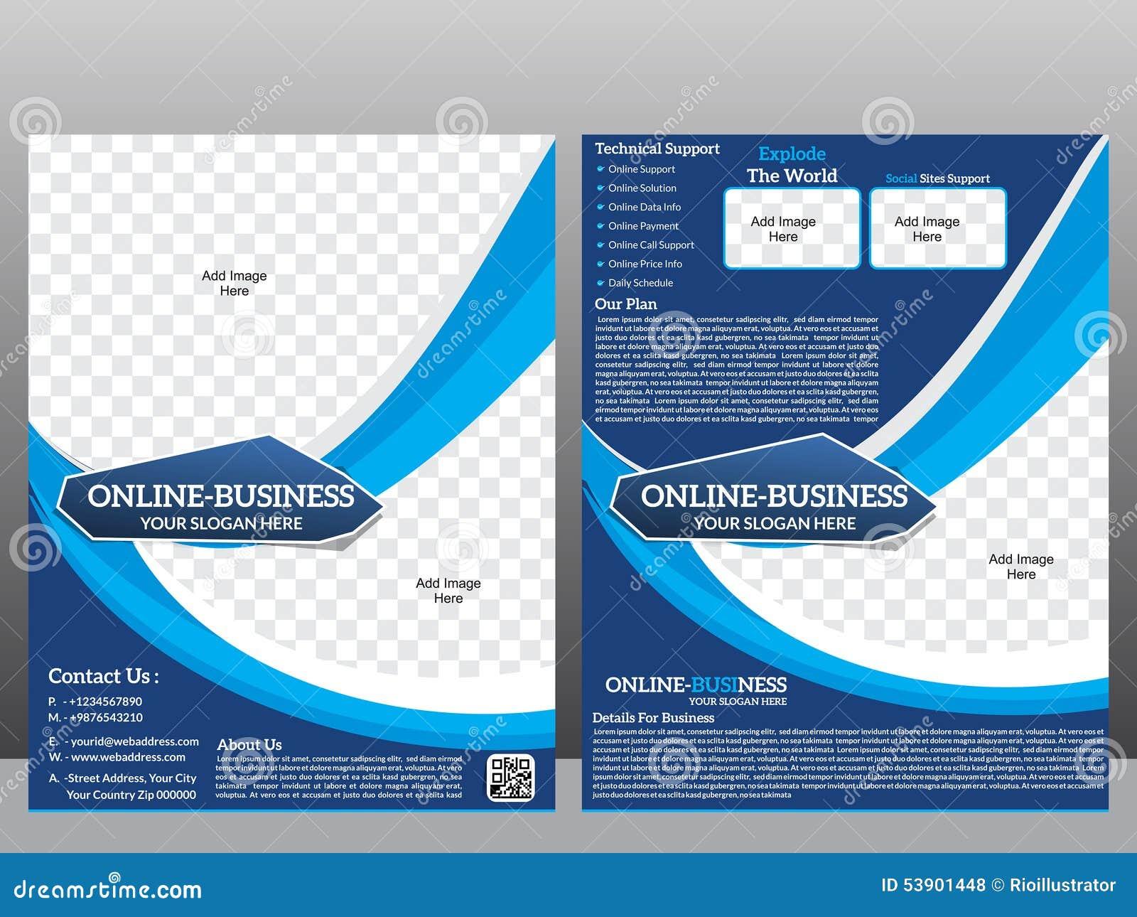 Online Business Flyer Template Magazine Stock Illustration