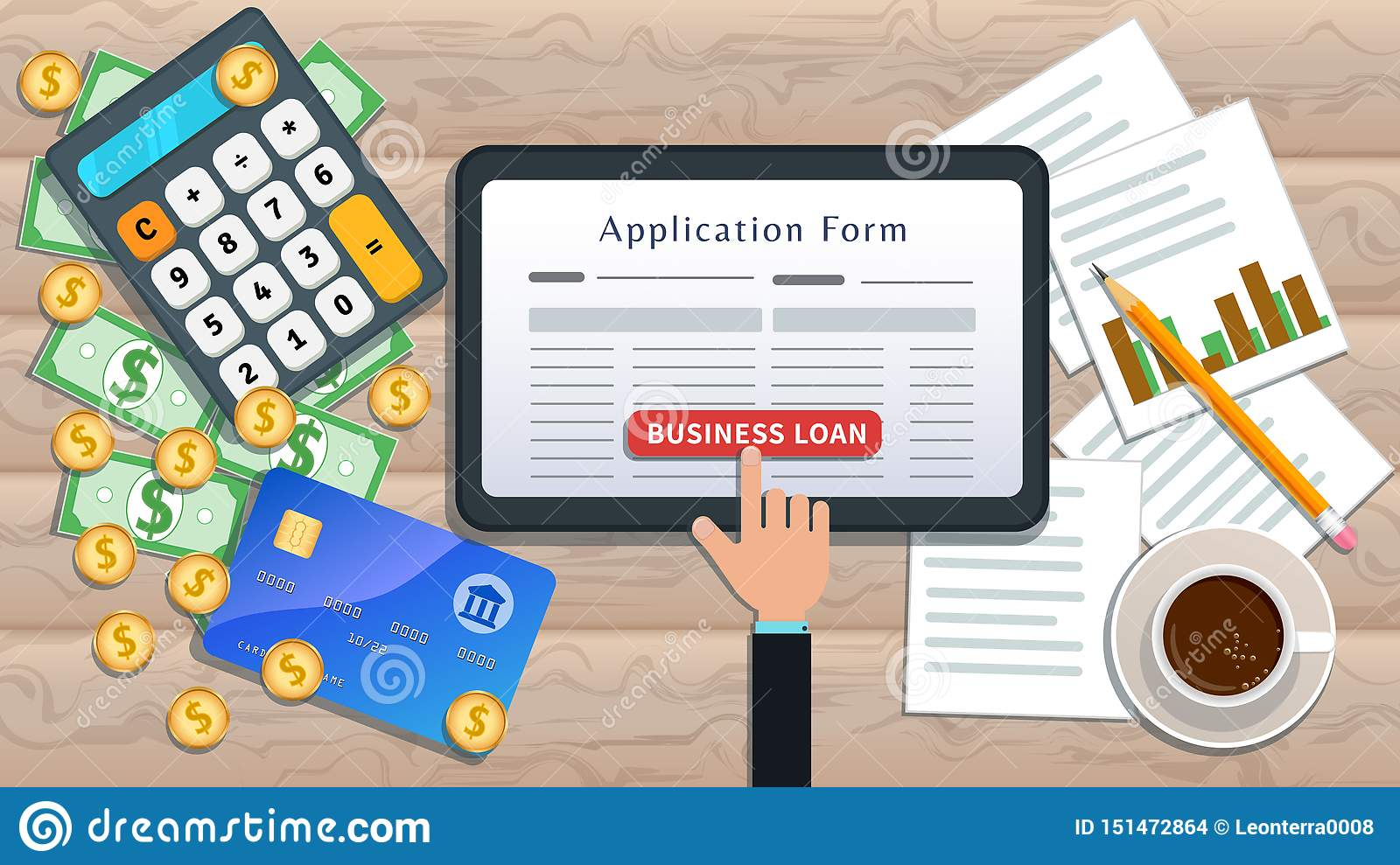 Online Business Loan Or Lending Concept. Home Mortgage. Flat Tablet With  Loan Application Form And Hand Click Button On Desk Stock Illustration -  Illustration of document, bank: 151472864