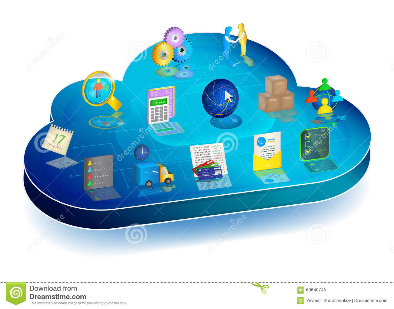 Online Business Process Managing In Cloud Application. Concept Stock ...