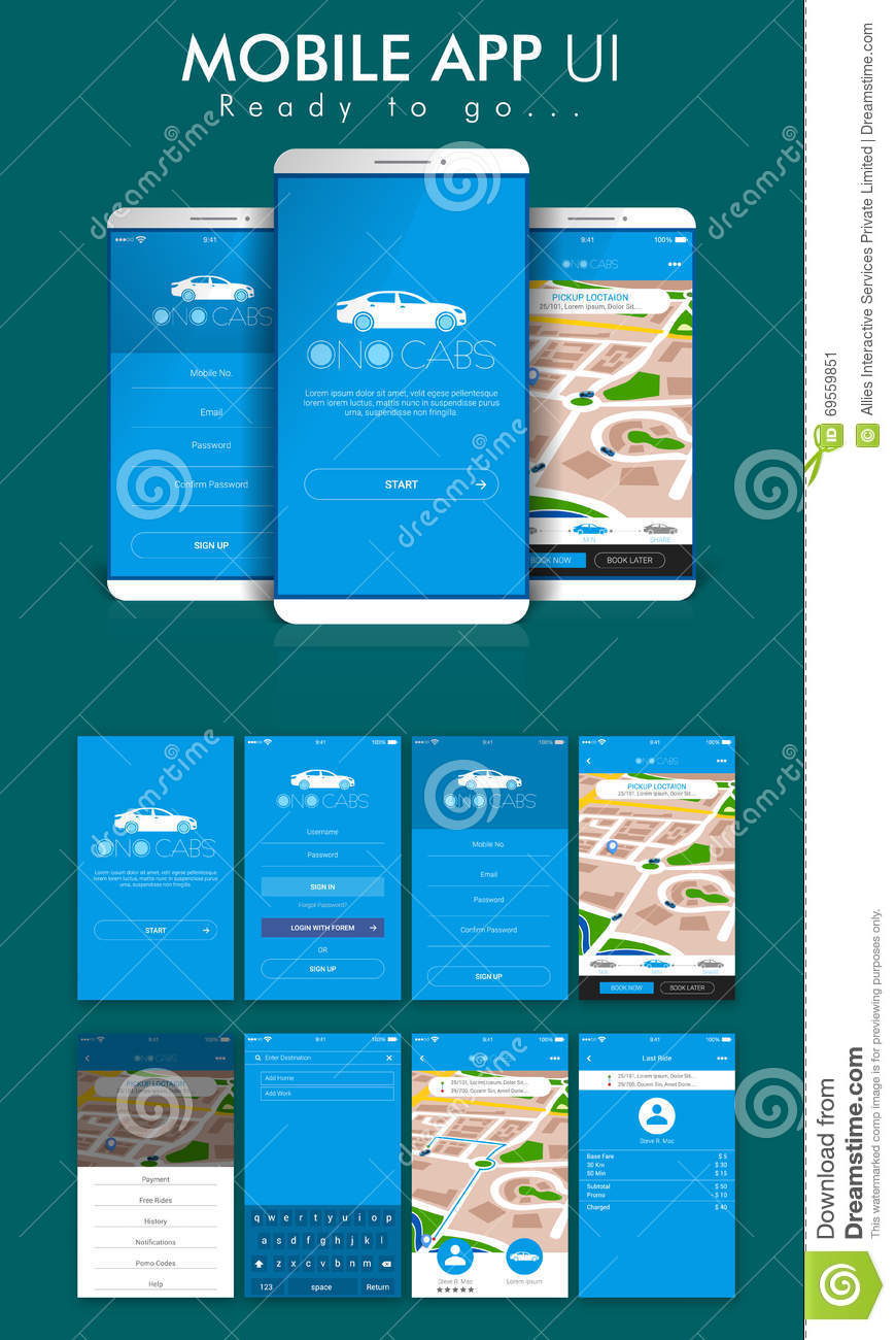 Online Cab Mobile App Ui Ux And Gui Screens Stock Photo