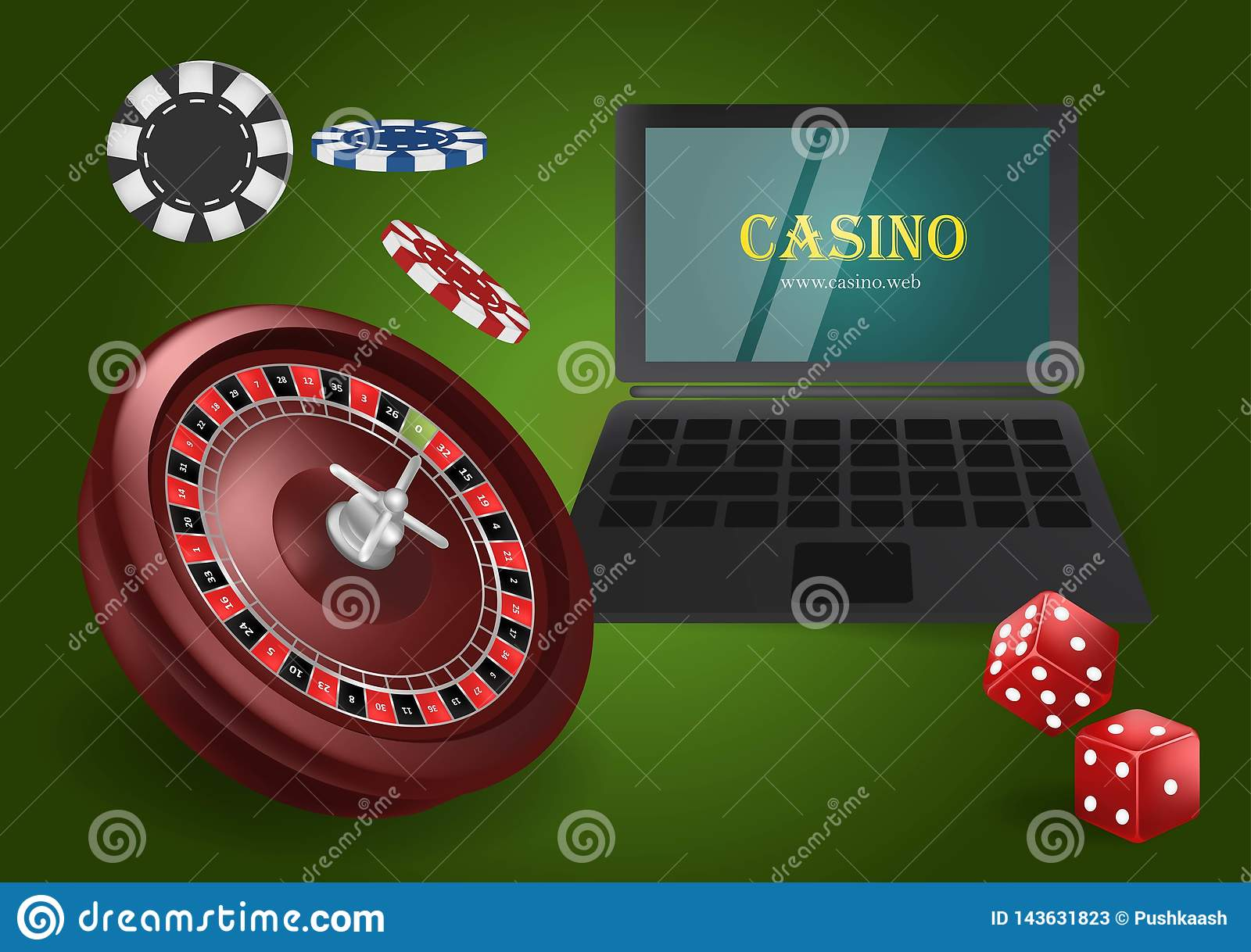 Online casino banner concept with laptop. Poker design or fortune casino gambling. Dice, chips, roulette vector illustration.