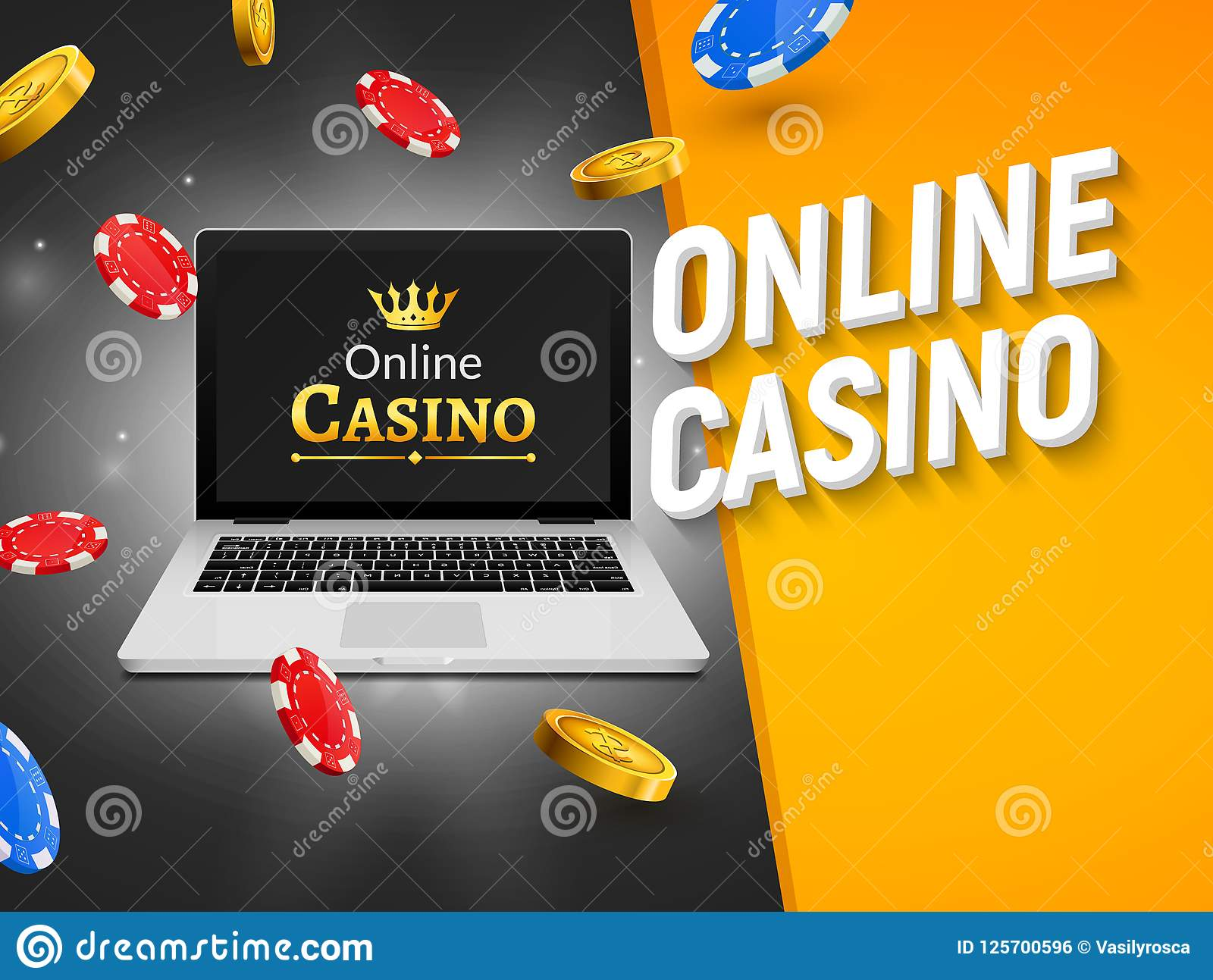 Online casino banner with laptop coins and falling chips. Roulette luck money game. Online poker casino