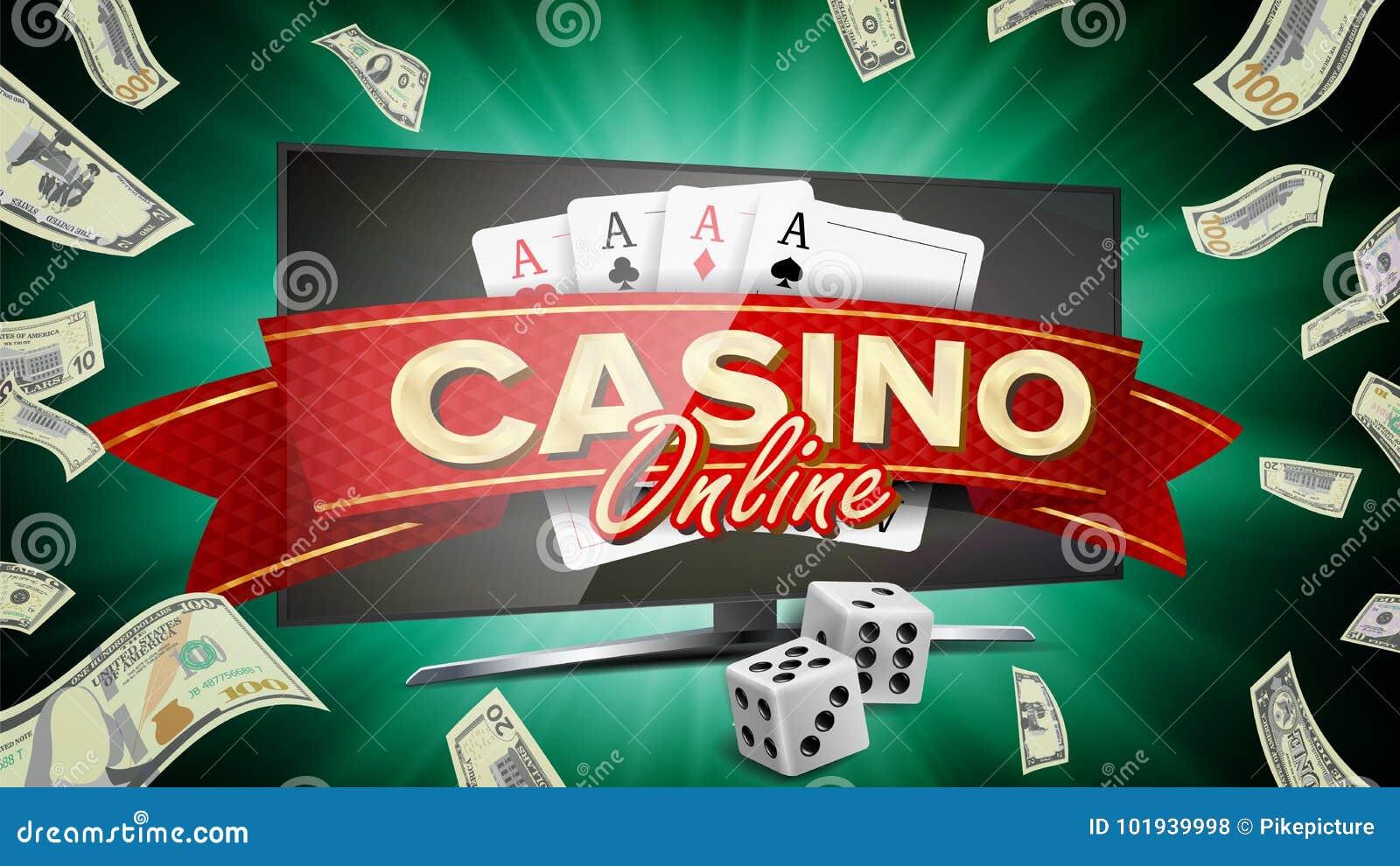 Online Casino Banner Vector Realistic Computer Monitor Winner