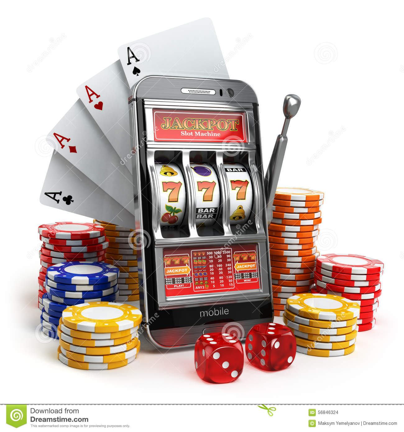 Online Casino Concept. Mobile Phone, Slot Machine, Dice
