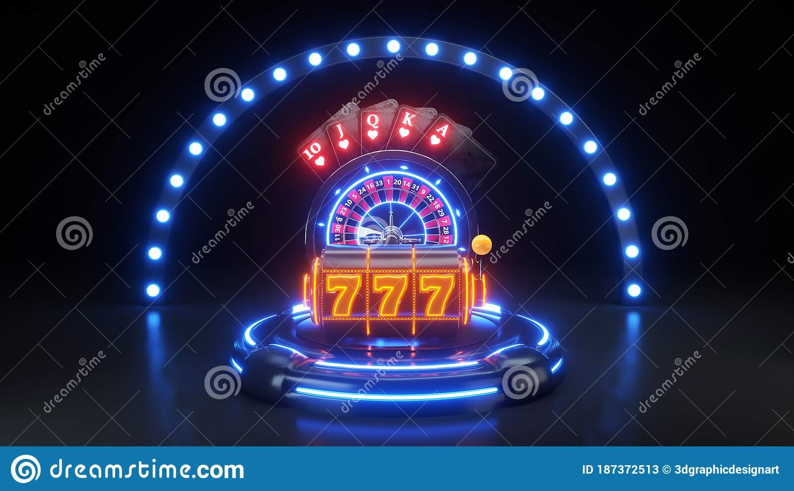 Online Casino Gambling Concept With Neon Lights - 3D Illustration Stock  Illustration - Illustration of concept, poker: 187372513