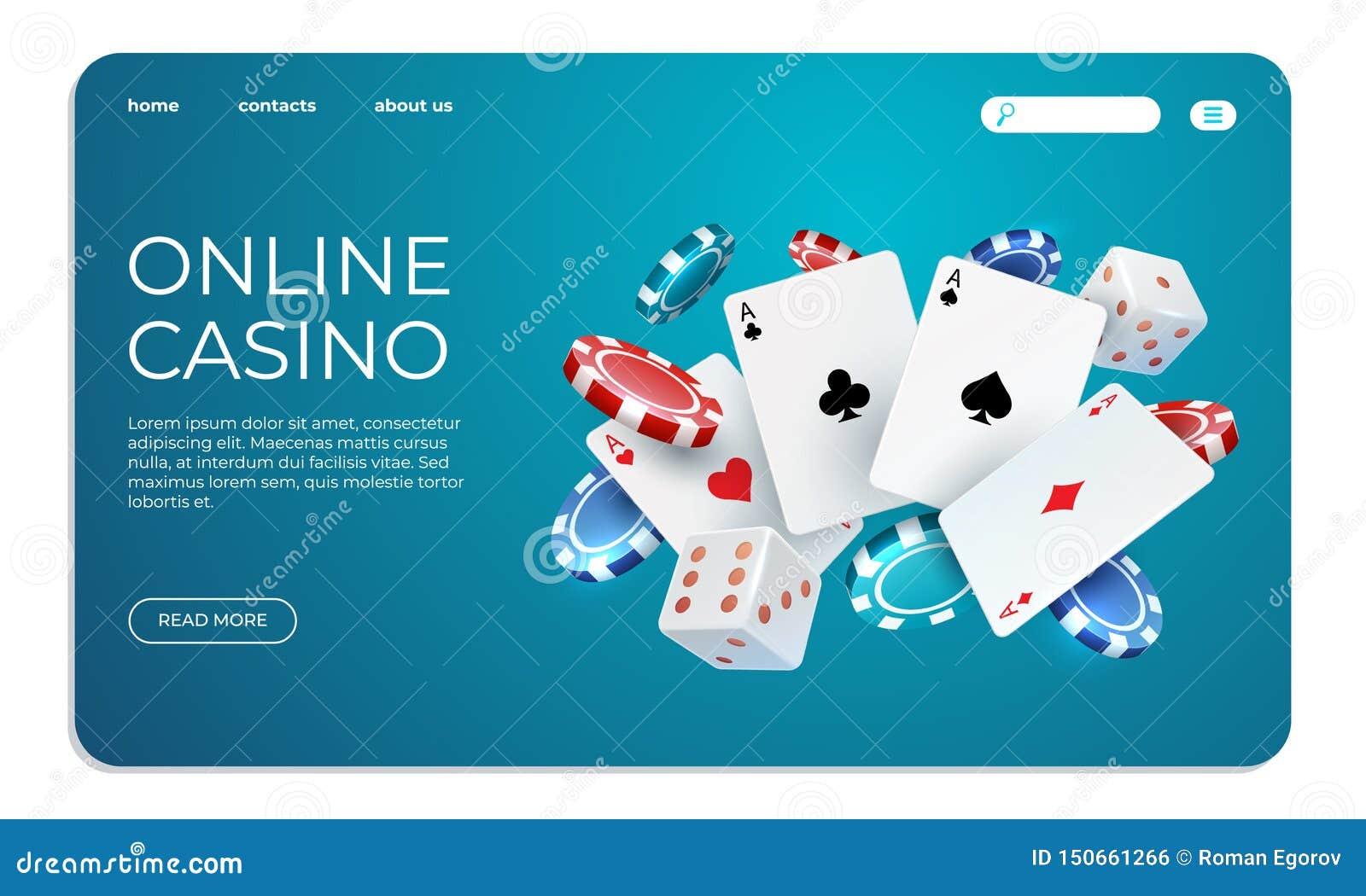 Online casino Het malplaatje van het Weblandingspagina voor Internet-pookspel De vectorkaarten van de illustratie vliegende pook,
