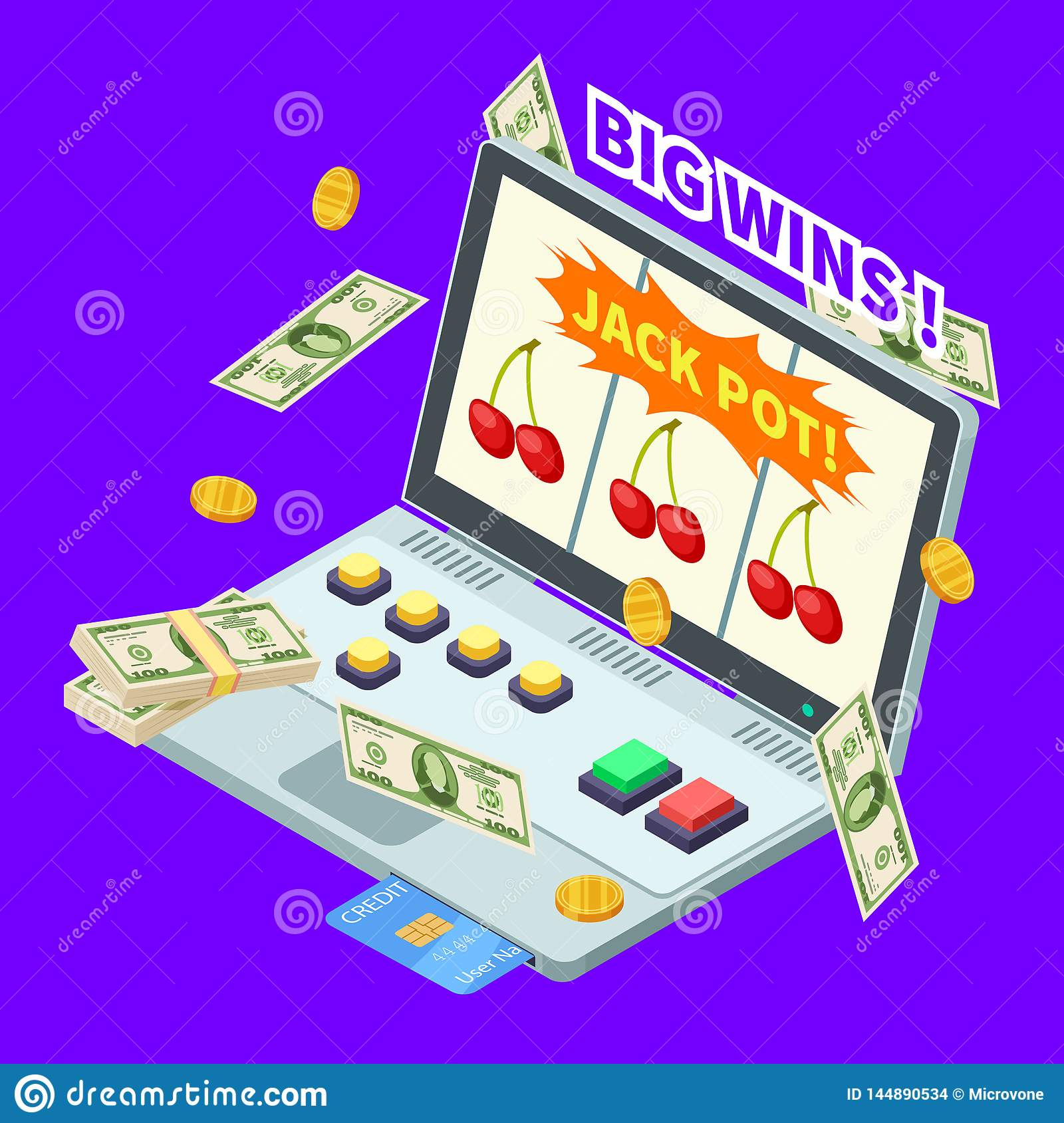 Online casino, jackpot win, banknotes, coins and credit card on laptop isometric vector illustration