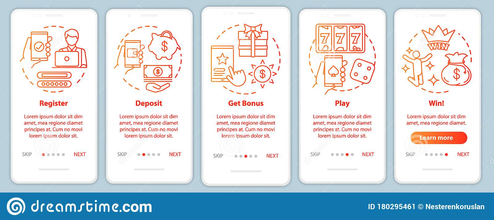 Online Casino Onboarding Mobile App Page Screen With Linear Concepts Register Deposit Get Bonus Play And Win Stock Vector Illustration Of Site Page 180295461