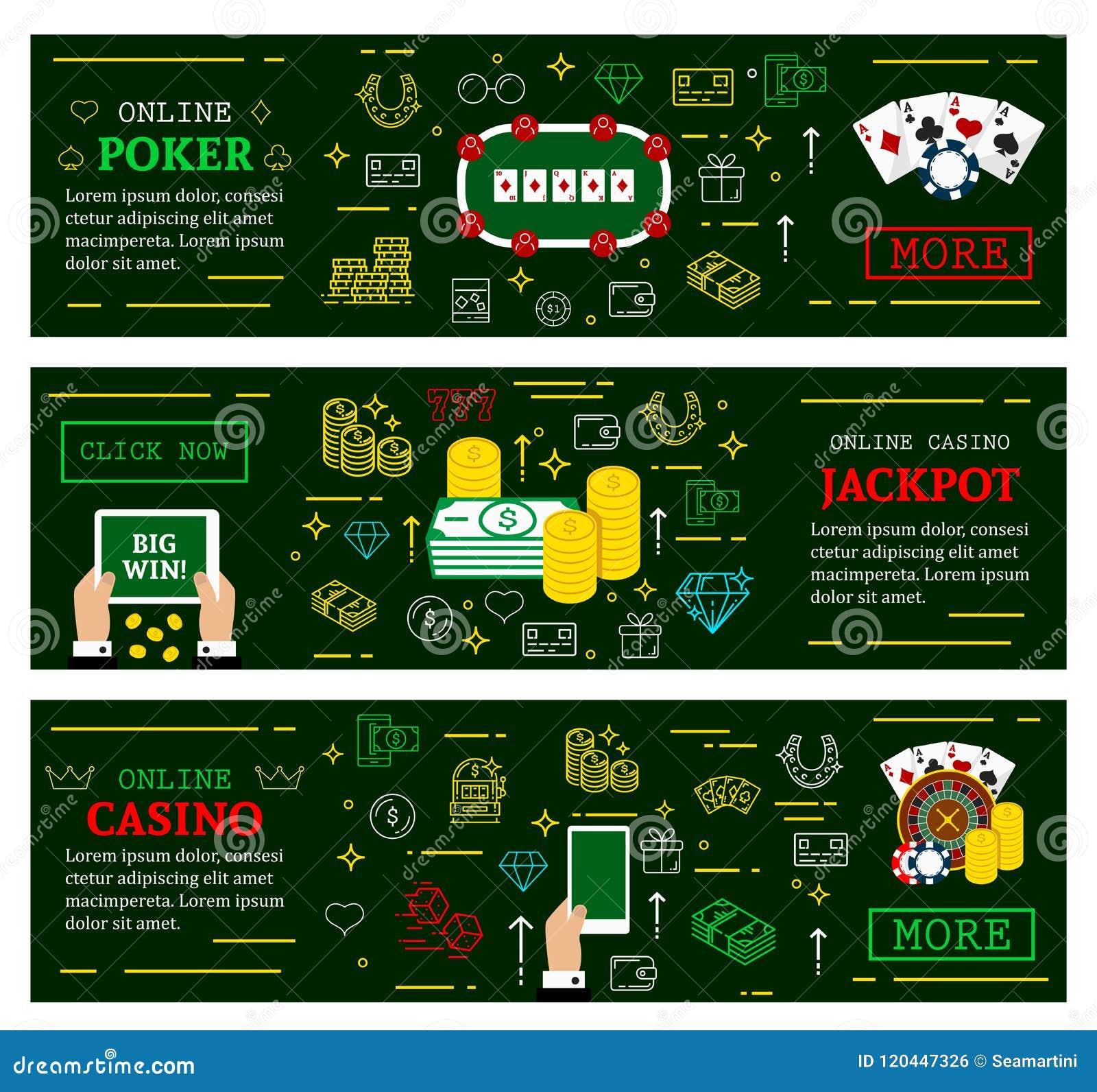 Online Casino Poker Jackpot Vector Web Banners Stock Vector Illustration Of Internet Heart 120447326