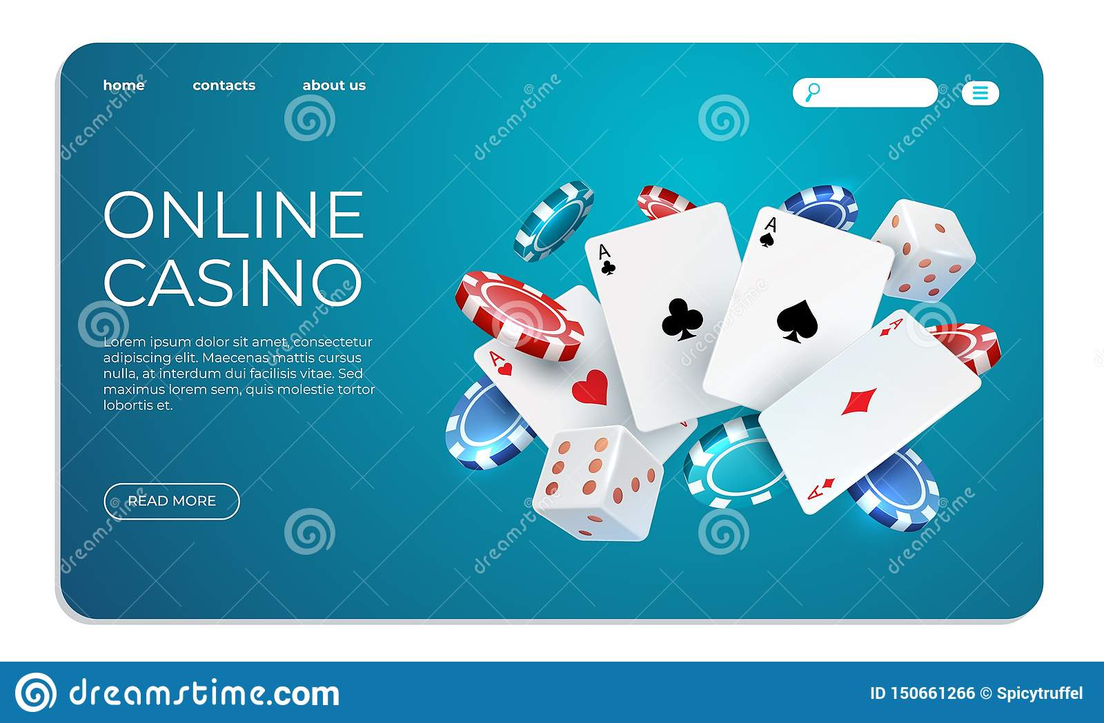 Online casino. Web landing page template for internet poker game. Vector illustration flying poker cards, chips game