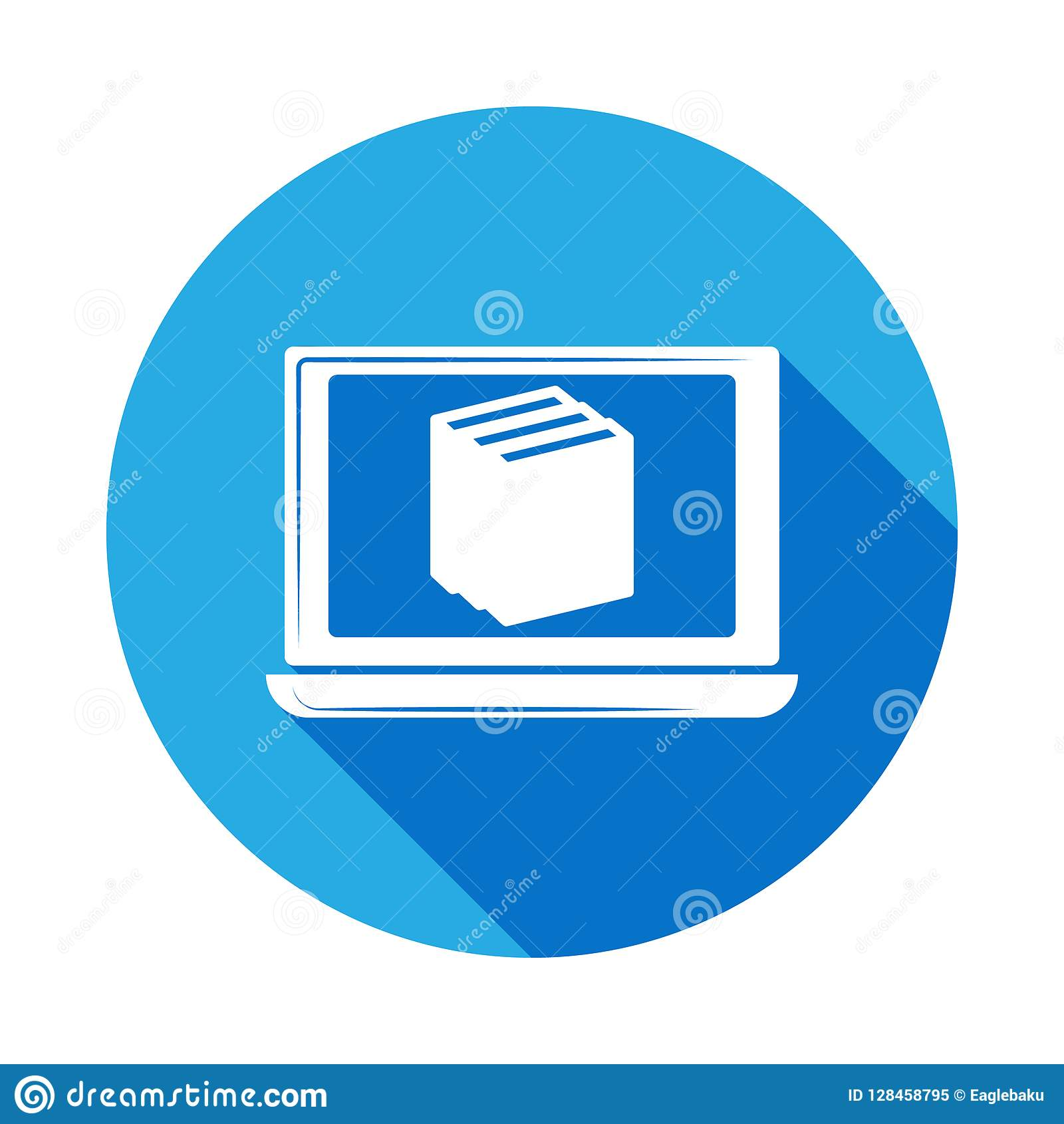 Online Certification Icon With Long Shadow Vector Graduation Icon