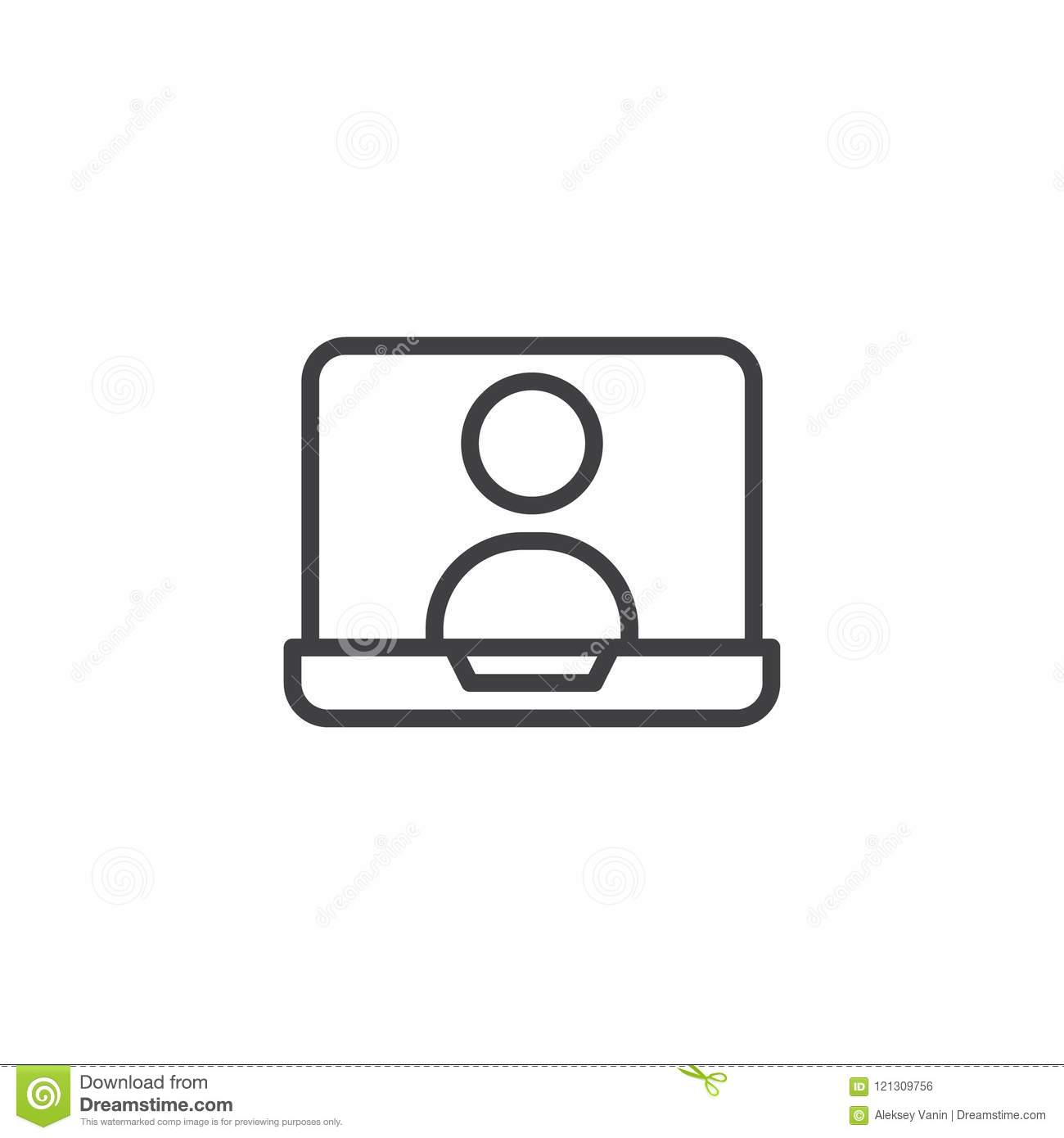 Online Chat On Laptop Screen Outline Icon Stock Vector