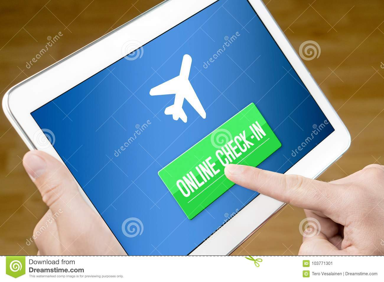 Online Check In With Mobile Device At Home Stock Image - Image of