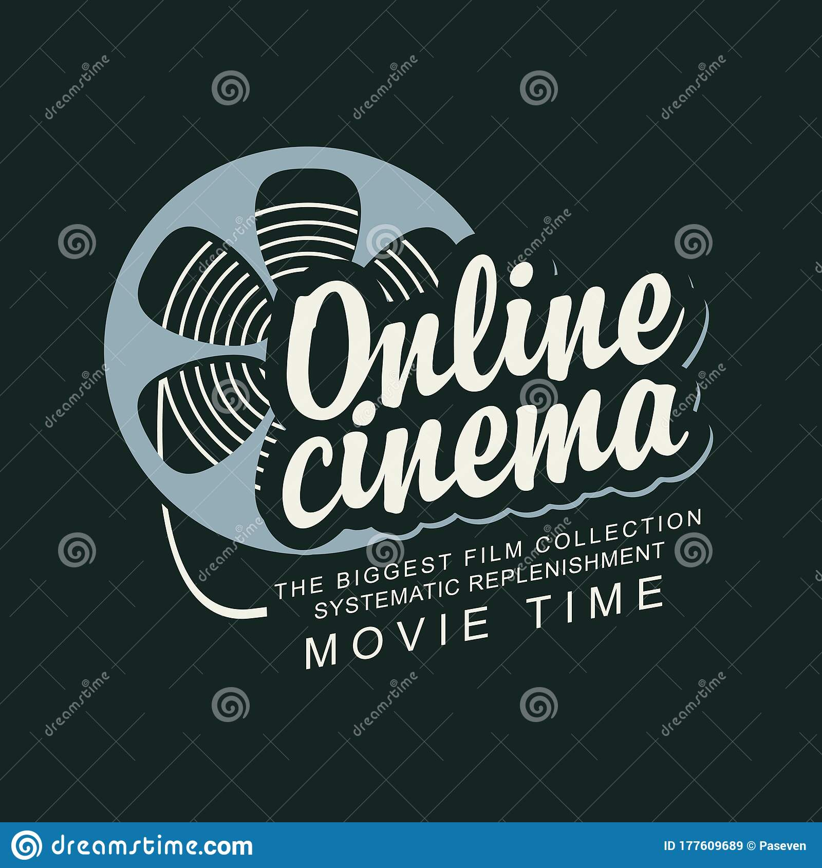 Online Cinema Poster With A Film Strip Reel Stock Vector Illustration Of Application Display 177609689