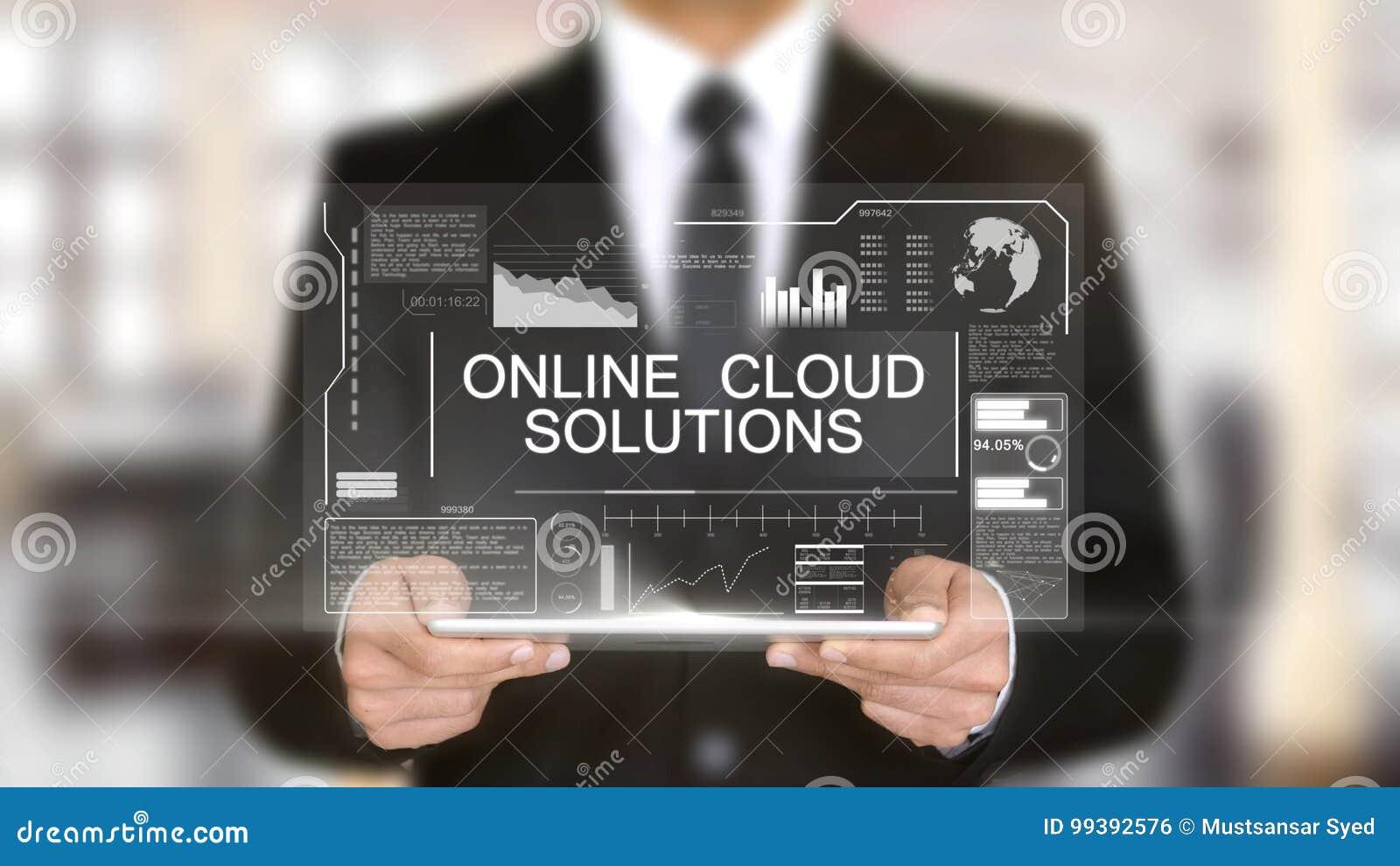 Online Cloud Solutions, Hologram Futuristic Interface Concept