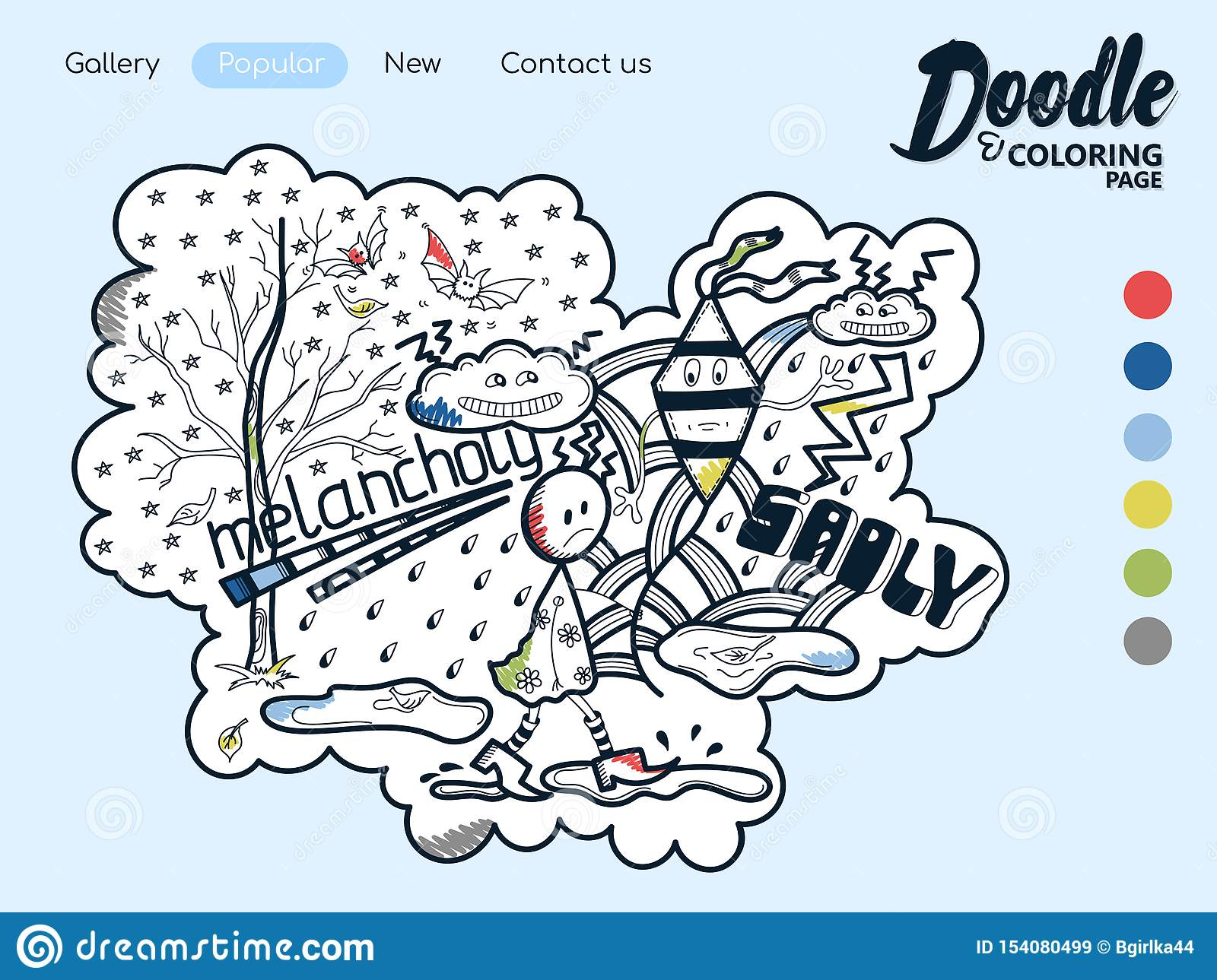 Online Coloring Page Melancholy Stock Vector - Illustration ...