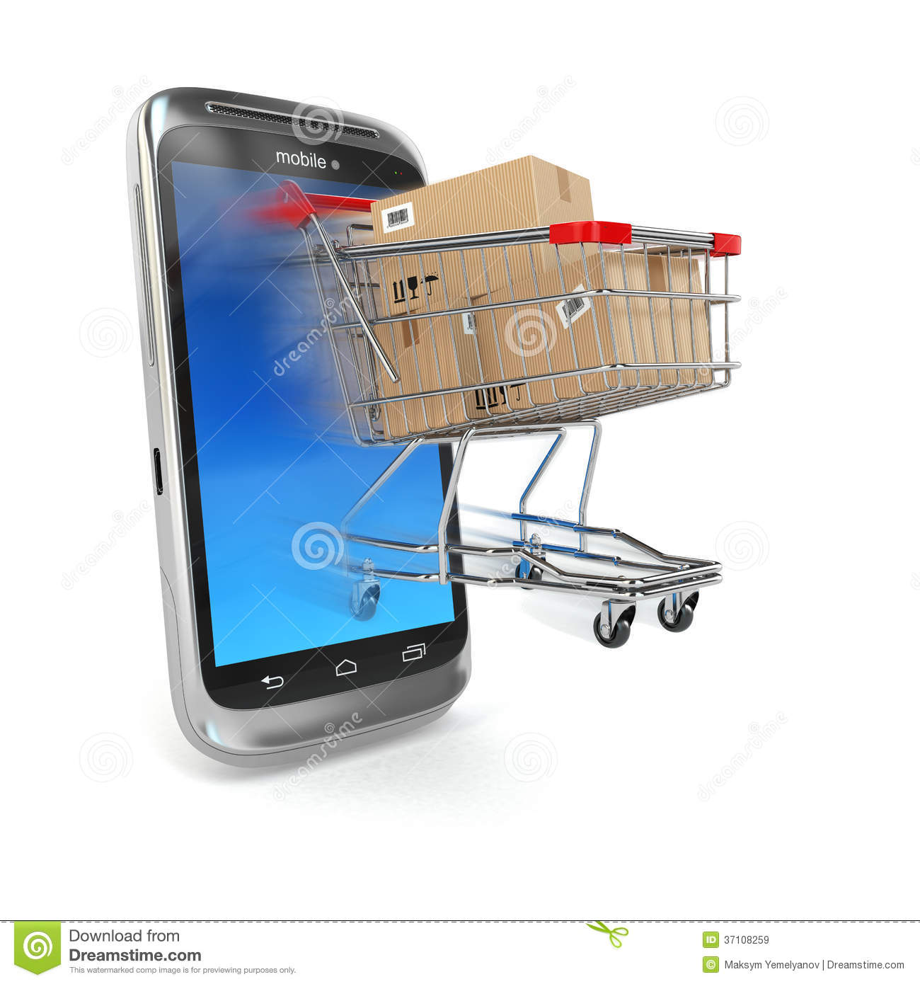 Online commerce mobile phone and shopping cart royalty for Shop on line mobili