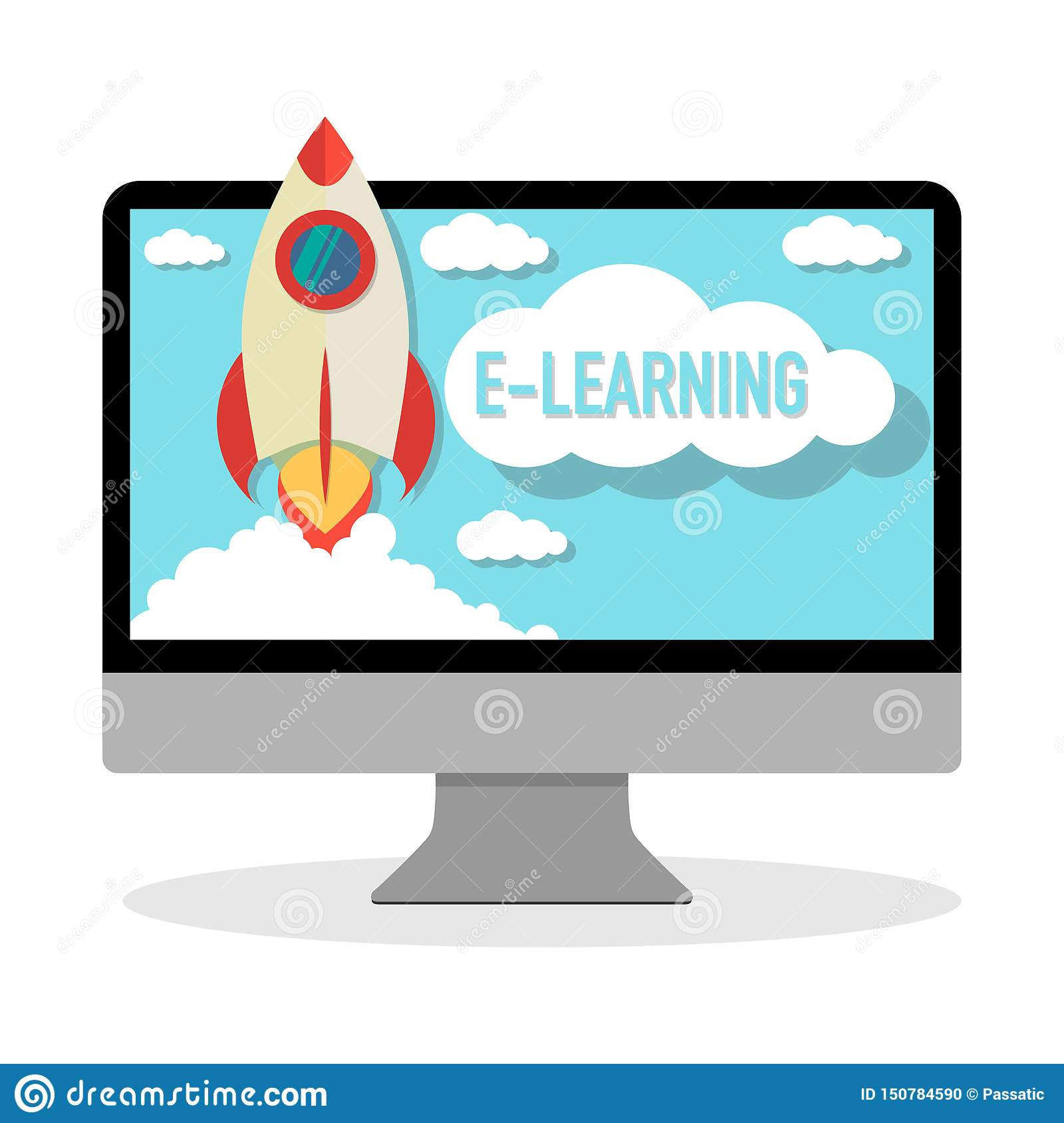 Online course e-learning computer with rocket launching