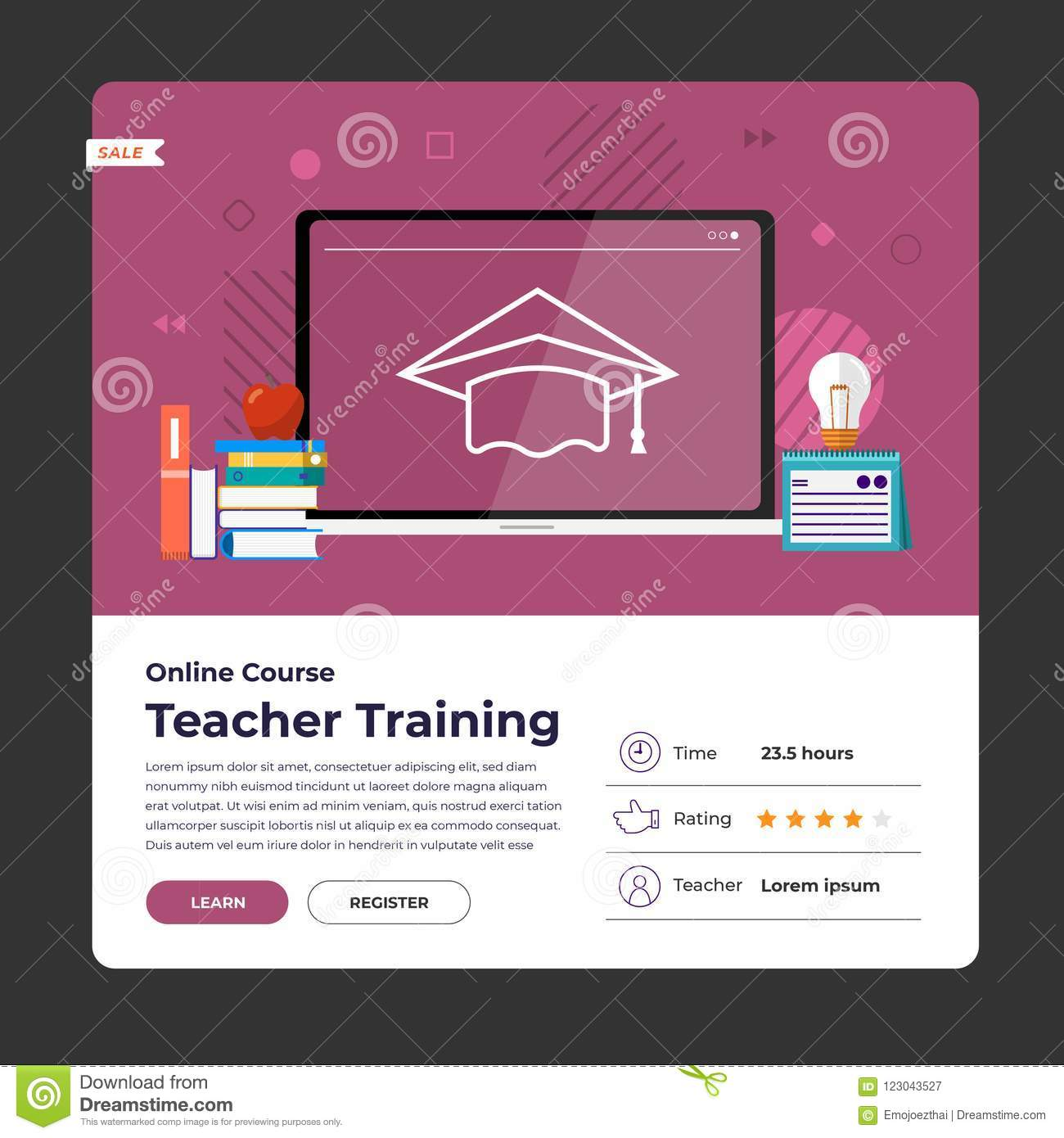 Online course education stock vector  Illustration of education