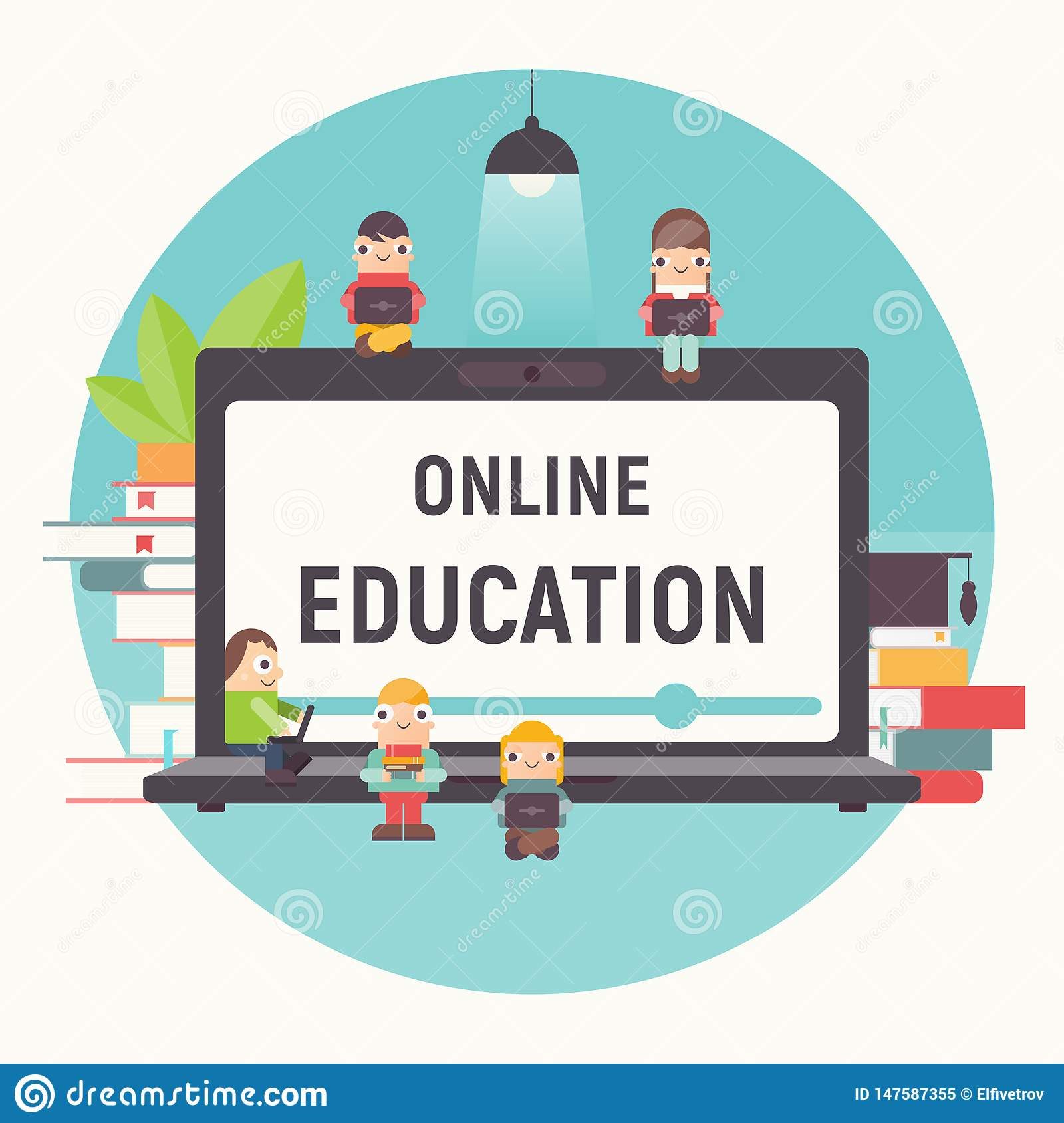 Online Courses Tutorials E Learning Stock Vector Illustration Of College Landing 147587355
