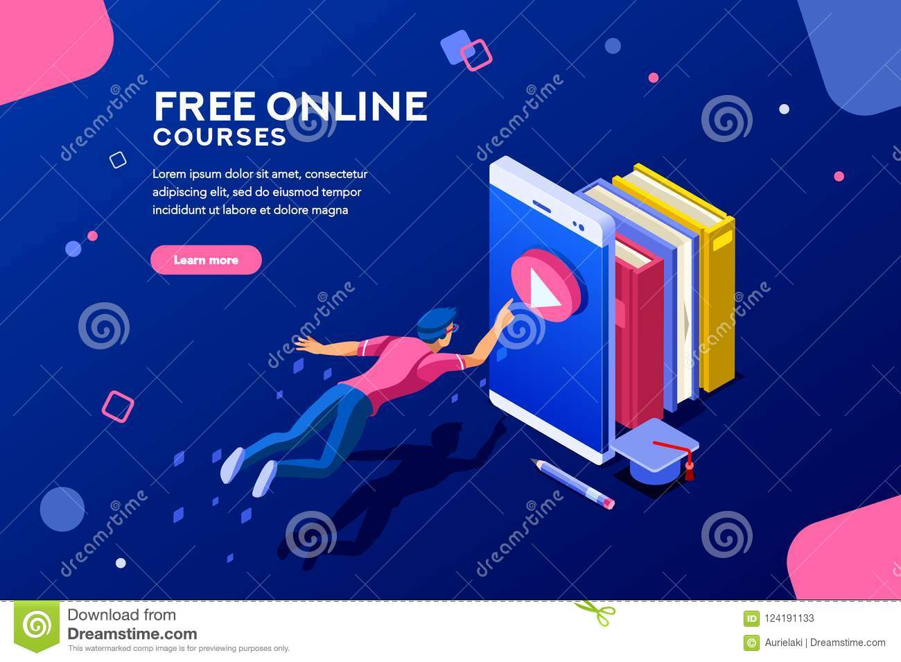 Online Courses Web Page Banner Stock Vector - Illustration
