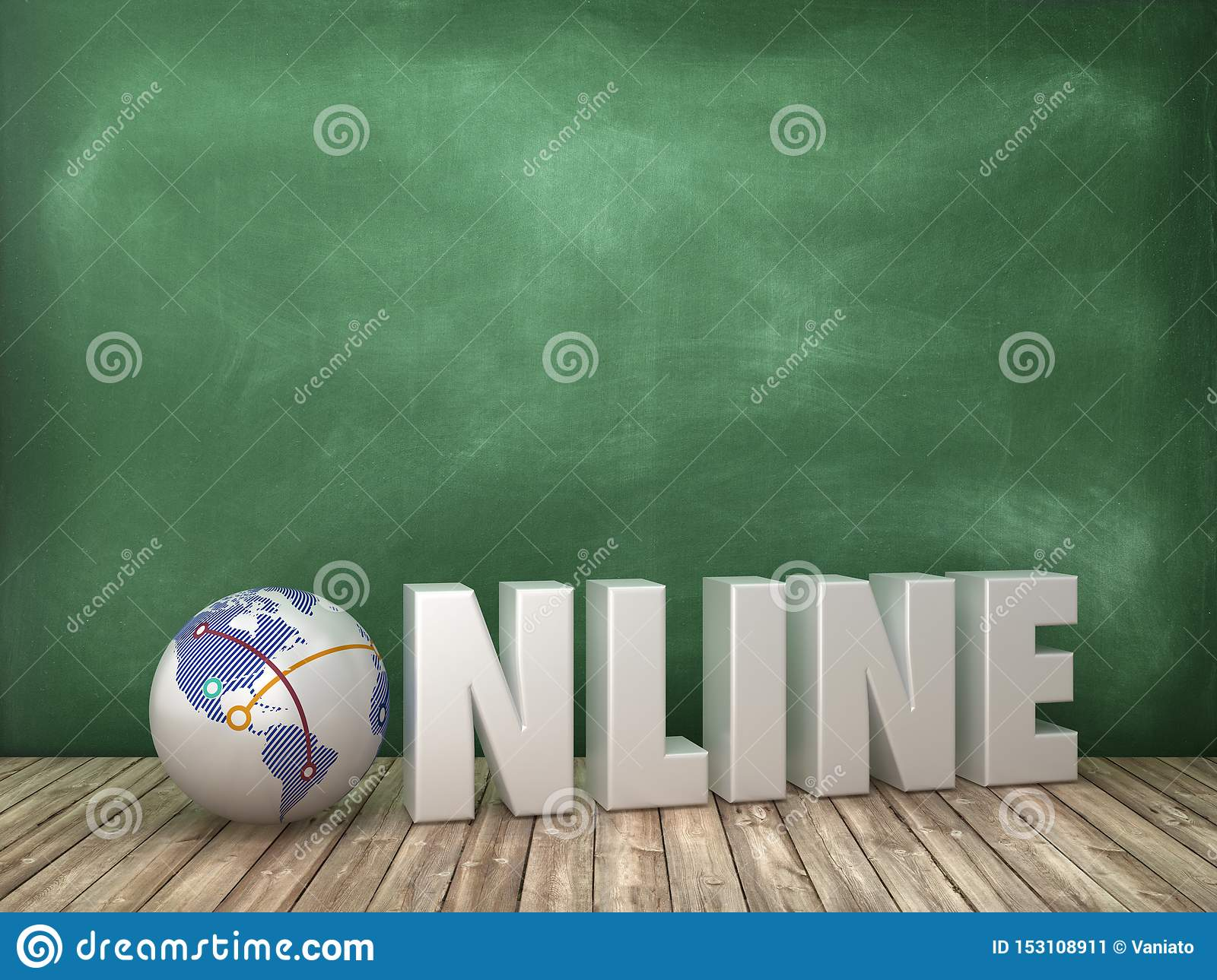 ONLINE 3D Word with Globe World on Chalkboard Background