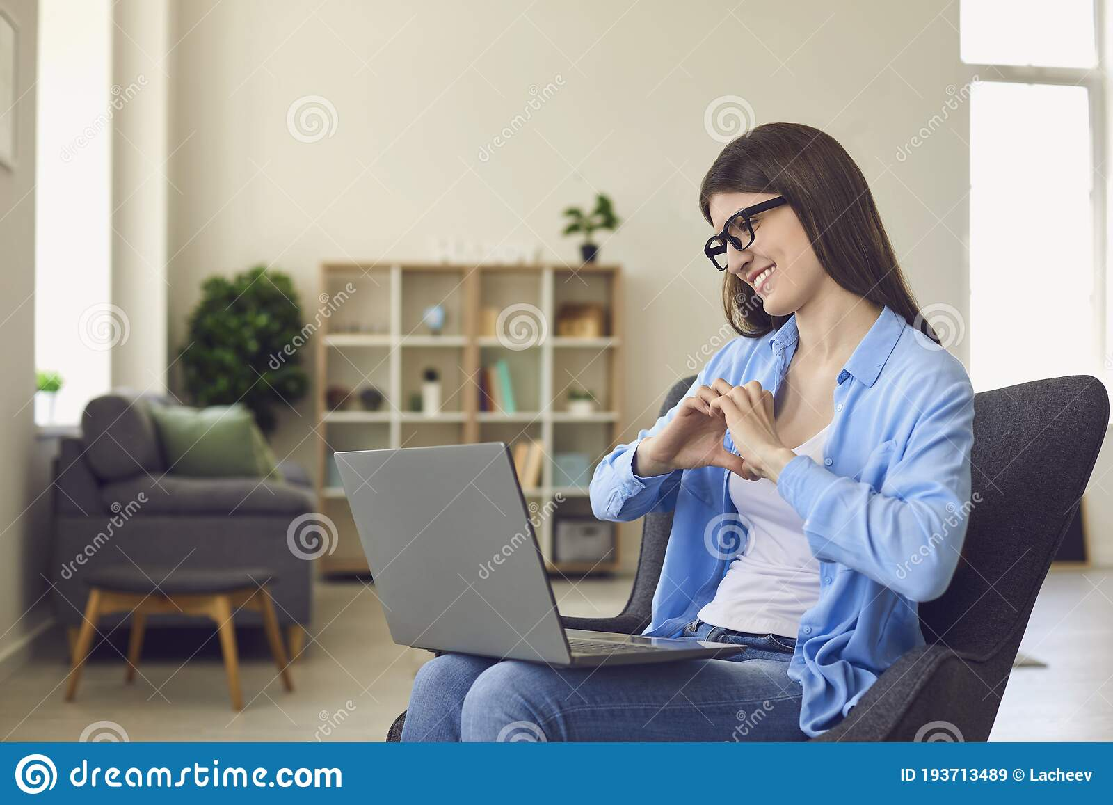 Online Dating. Happy Young Woman Talking To Her Boyfriend