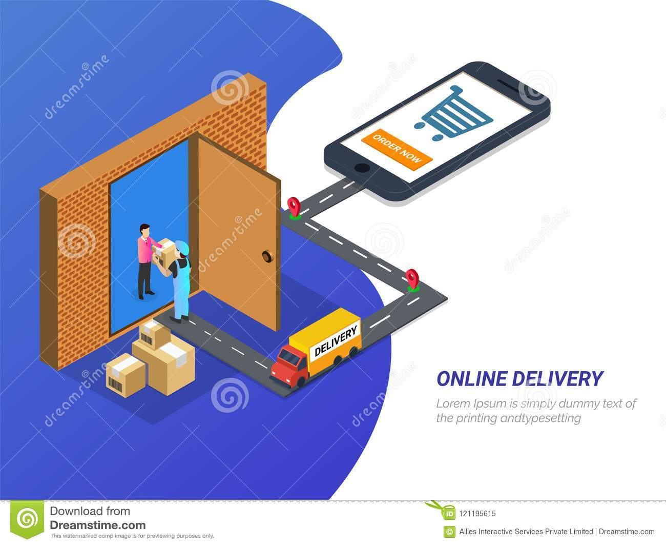 Online Delivery, Isometric Concept, Mobile App Or Landing